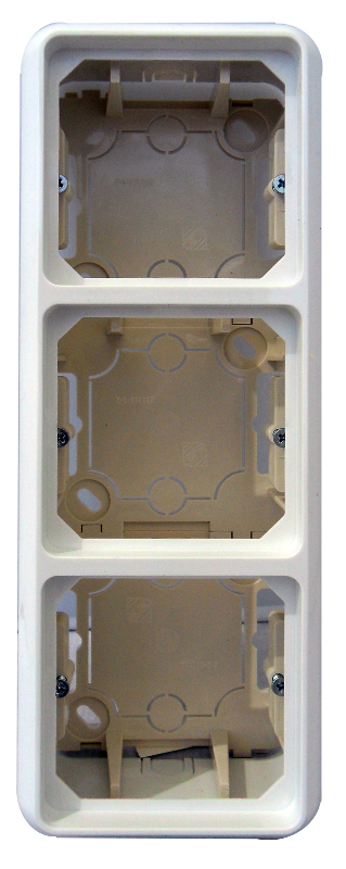 1 Stk AP-Gehäuse 3-fach komplett inklusive Rahmen, reinweiß EL234314--