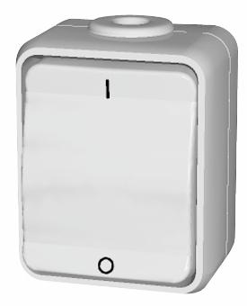 1 Stk AP IP44 Ausschalter 2-polig, Steckklemme, reinweiß, Aqua-Top EL441204--