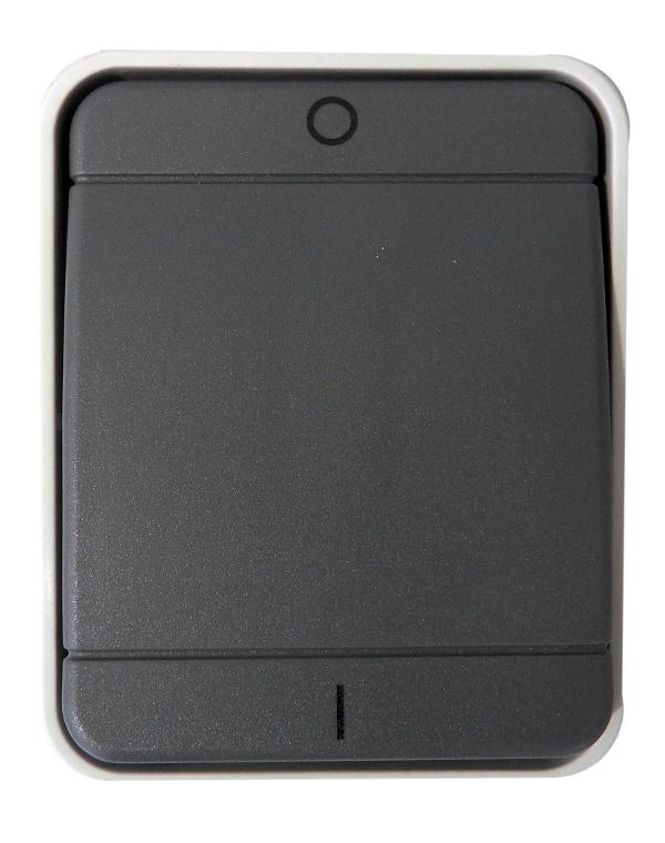 1 Stk AP IP44 Ausschalter 2-polig, Steckklemme, basaltgrau EL441209--