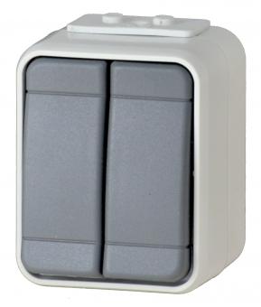 1 Stk AP IP44 Serienschalter, Steckklemme, basaltgrau, Aqua-Top EL441509--