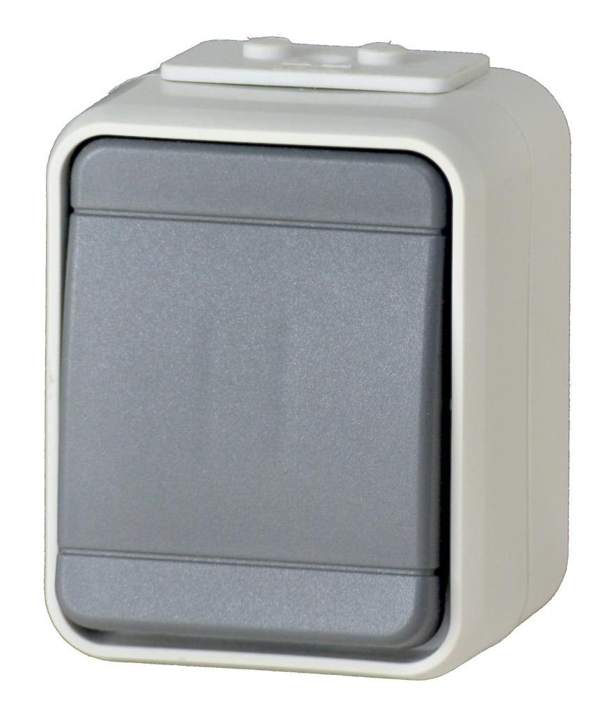 1 Stk AP IP44 Universalschalter, Steckklemme, basaltgrau, Aqua-Top EL441609--
