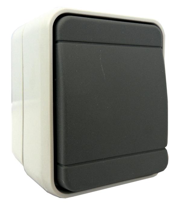 1 Stk AP IP44 Universaltaster, 1 Wechsler, Steckklemme, basaltgrau EL442609--