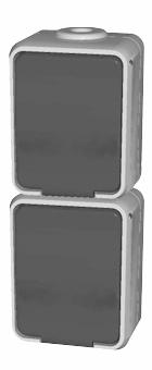1 Stk AP IP44 2-fach Steckdose senkrecht, Steckklemme, reinweiß EL445414--