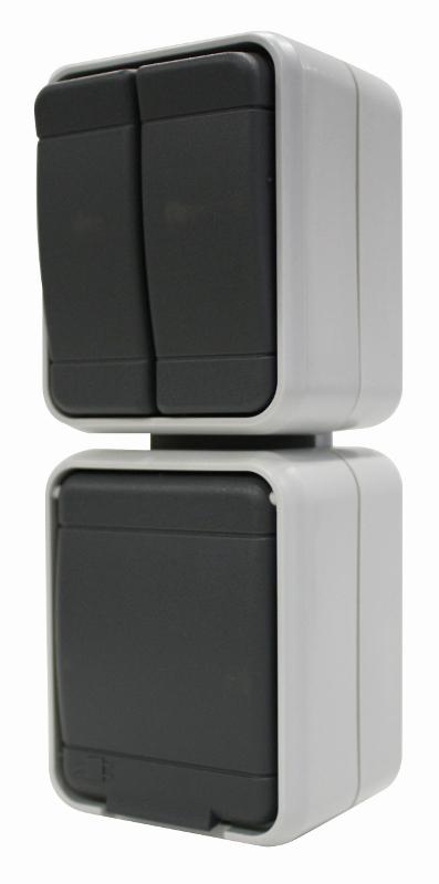 1 Stk AP IP44 Kombi Serienschalter und Steckdose, senkrecht EL448529--