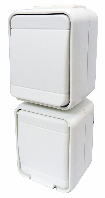 1 Stk AP IP44 Kombi Universalschalter und Steckdose, senkrecht, rw EL448624--