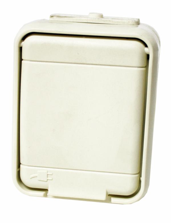 1 Stk AP IP44 Steckdose, Schraubklemme, perweiß, Aqua-Top EL455000--