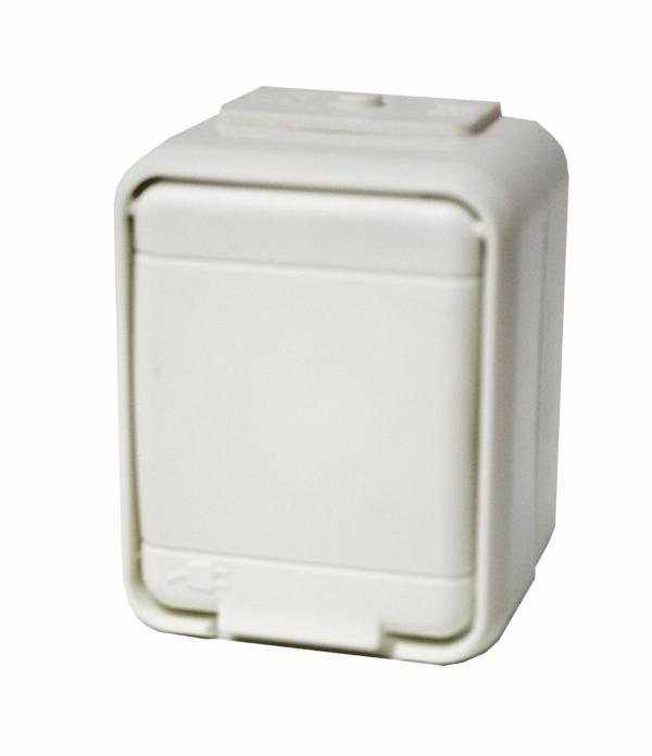 1 Stk AP IP44 Steckdose, Schraubklemme, reinweiß, Aqua-Top EL455004--