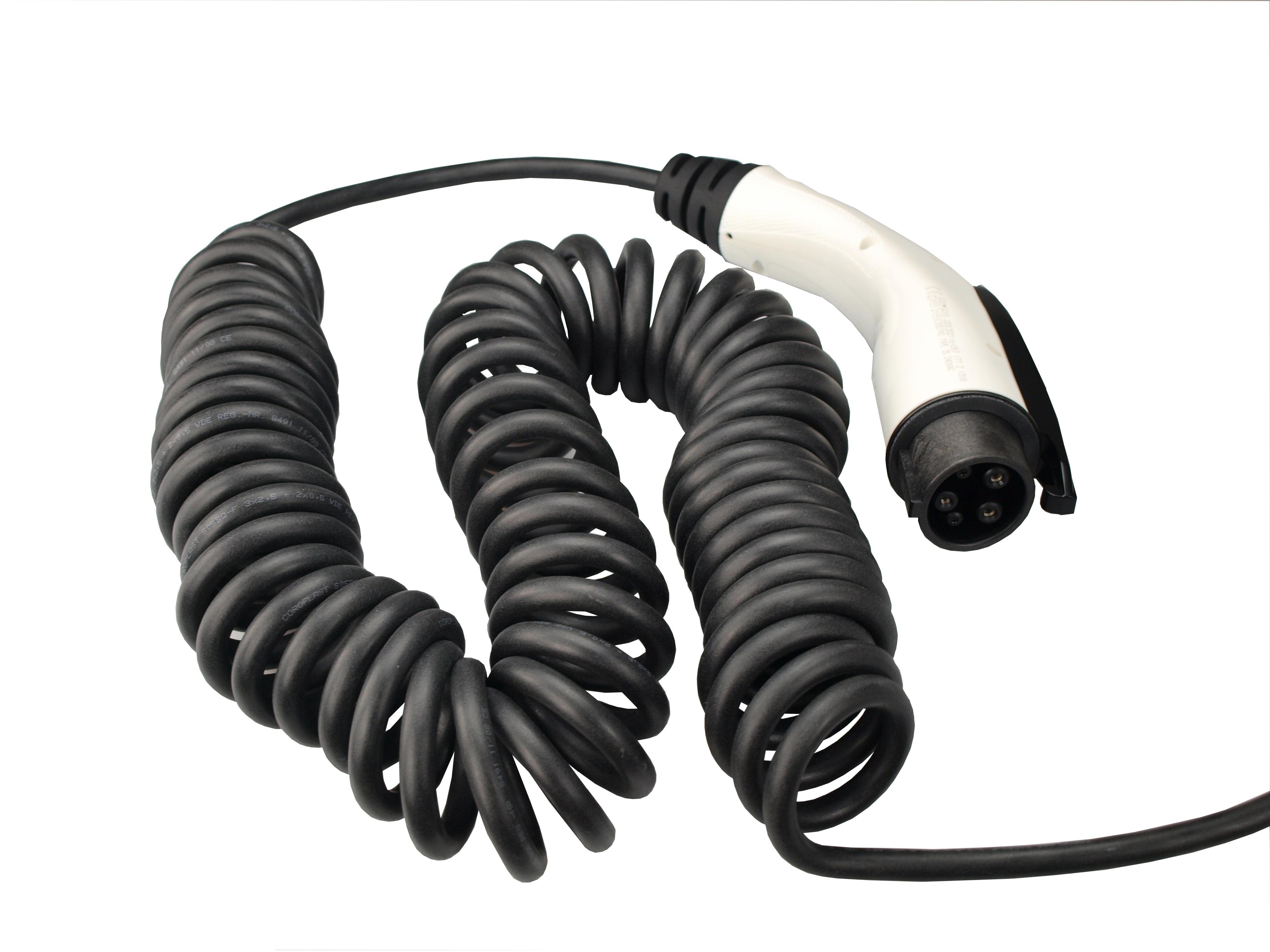1 Stk i-CHARGE Cable 16A Typ1, Spiralkabel mit offenem Ende 5m EMK110F0C0