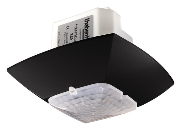 1 Stk KNX-Präsenzmelder für Deckenmontage, 360°/36m²/IP54, schwarz EST2009812