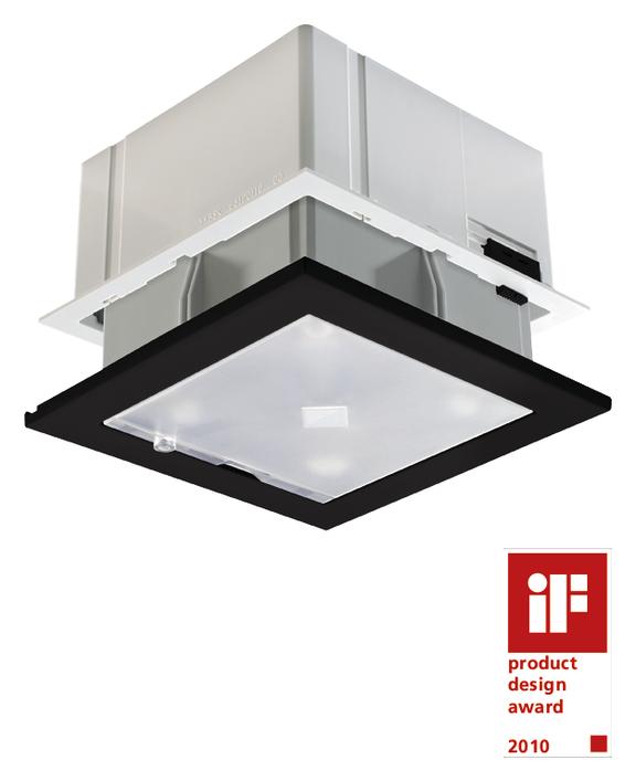 1 Stk Präsenzmelder, Deckeneinbau, 360°/64m²/IP40/2xLicht, schwarz EST2030503