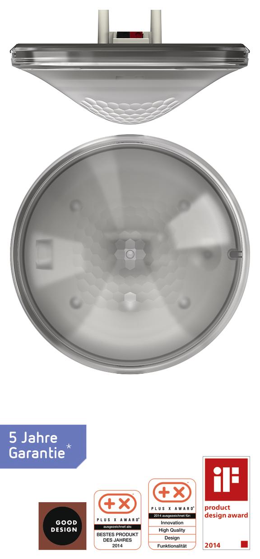 1 Stk KNX-Präsenzmelder für Deckenmontage, 360°/49m²/IP40, grau EST2079501