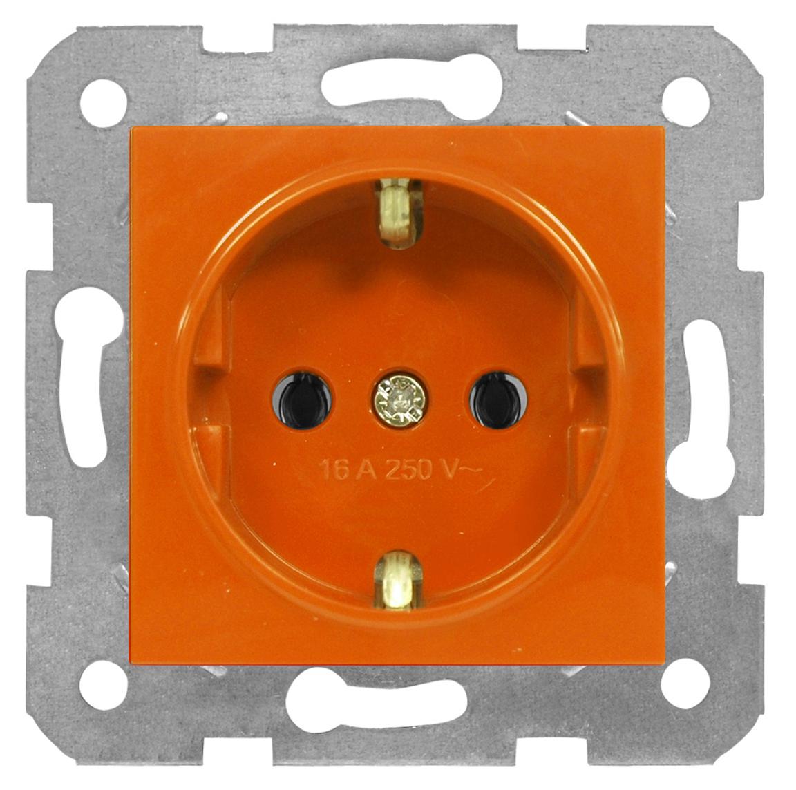 1 Stk Steckdose, orange, Schraubklemmen EV101010--