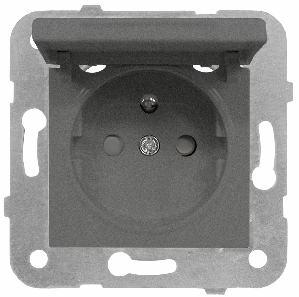 1 Stk Steckdose Erdstift, erhöhter Berührungsschutz, Klappdeckel EV111053--