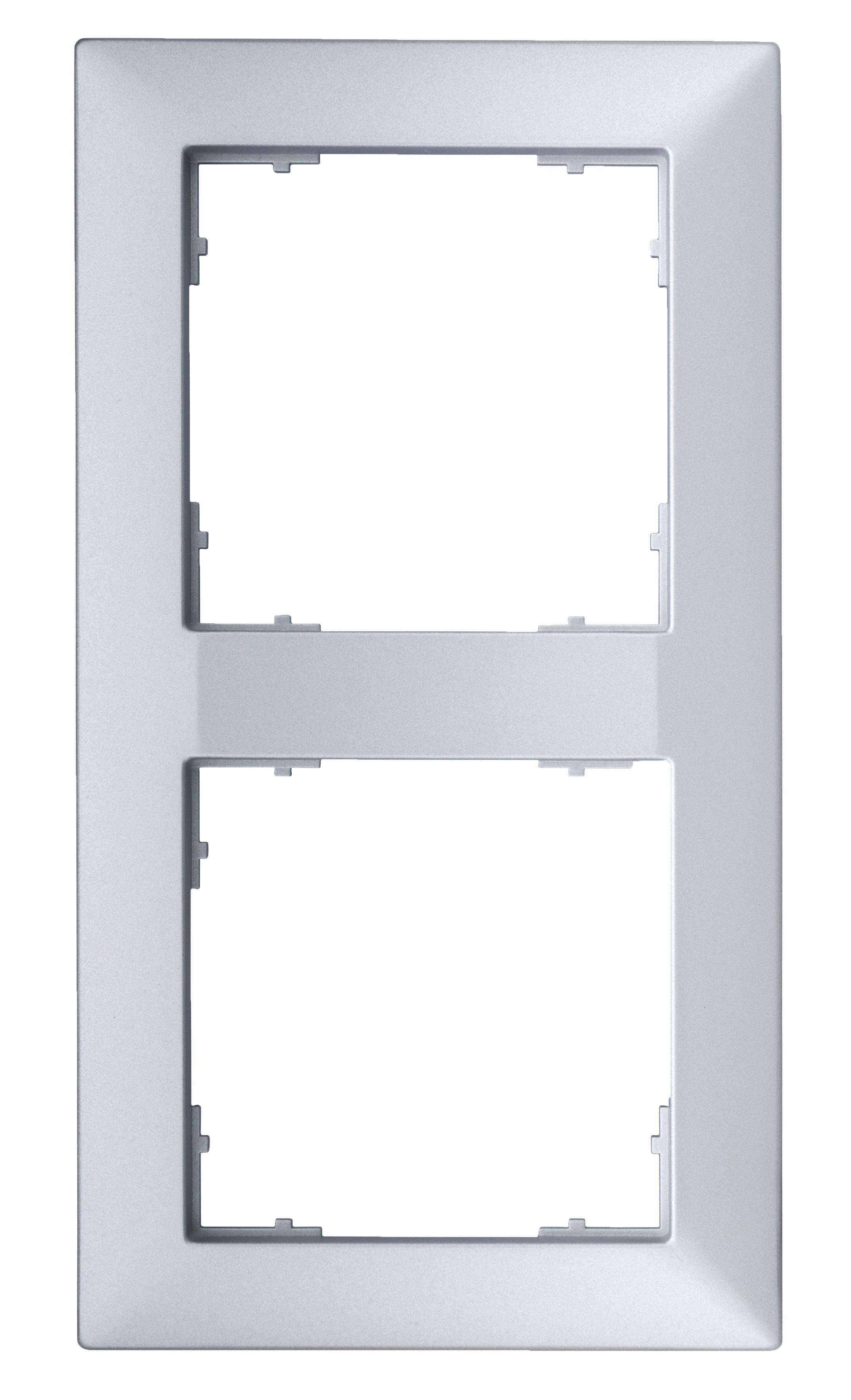 1 Stk Rahmen 55x55mm, 2-fach, Silber EV125022--