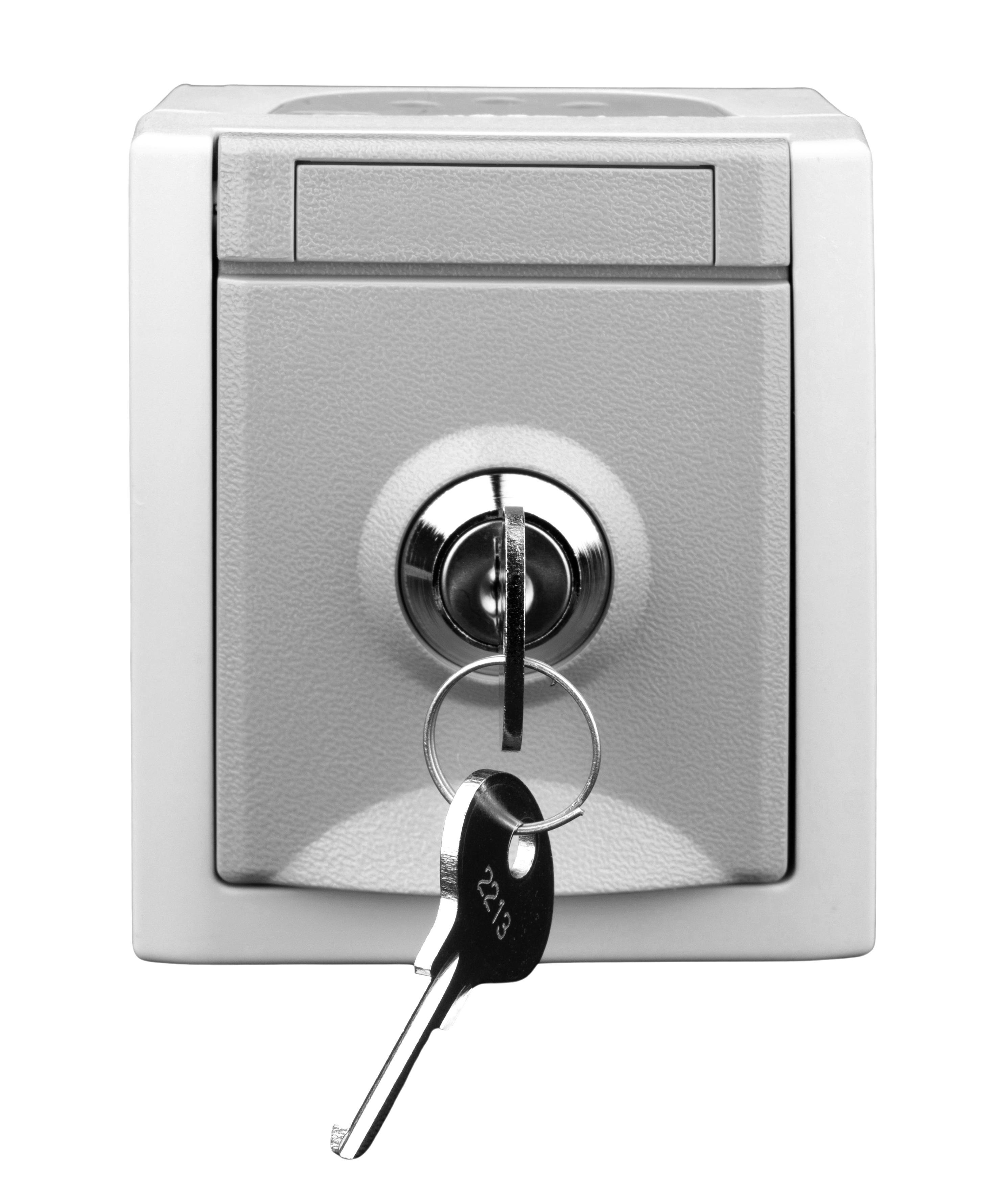 1 Stk AP-Klappdeckelsteckdose abschließbar, verschiedene Schlüssel EV211002--