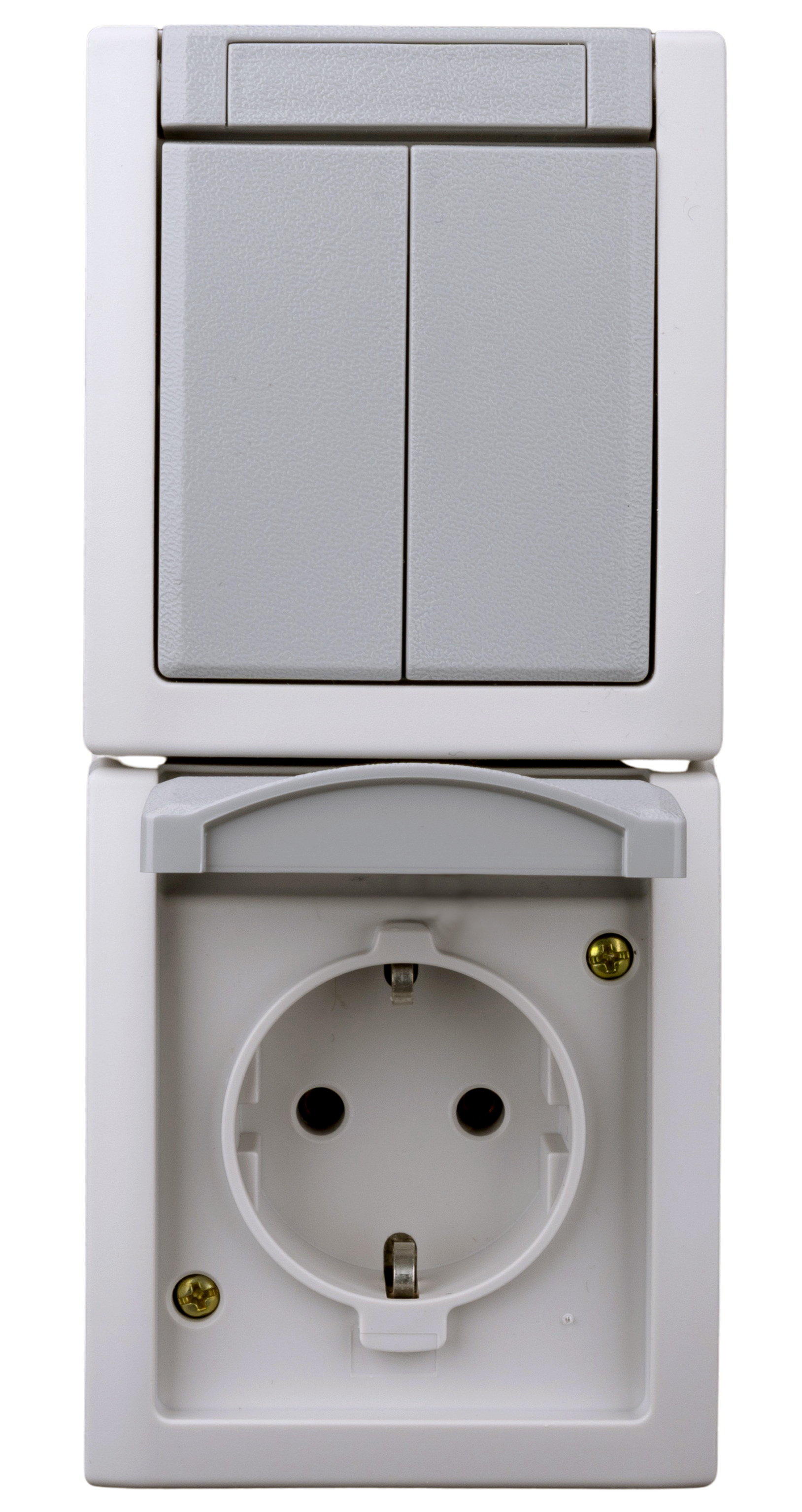 1 Stk AP-Kombination Serienschalter-Steckdose, Steckklemme, IP54 EV211004--
