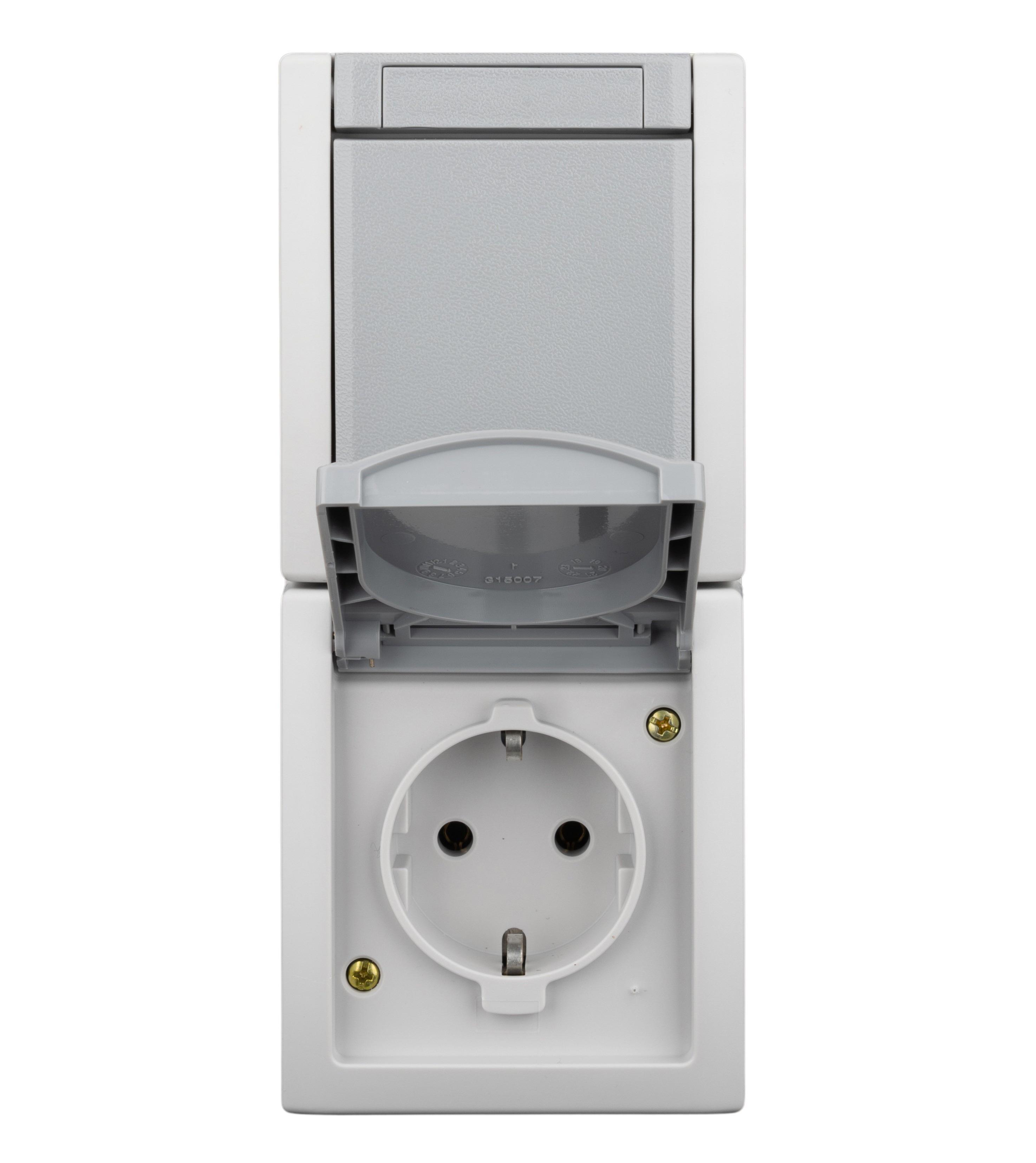 1 Stk AP-Kombination Wechselschalter-Steckdose, Steckklemme, IP54 EV211015--