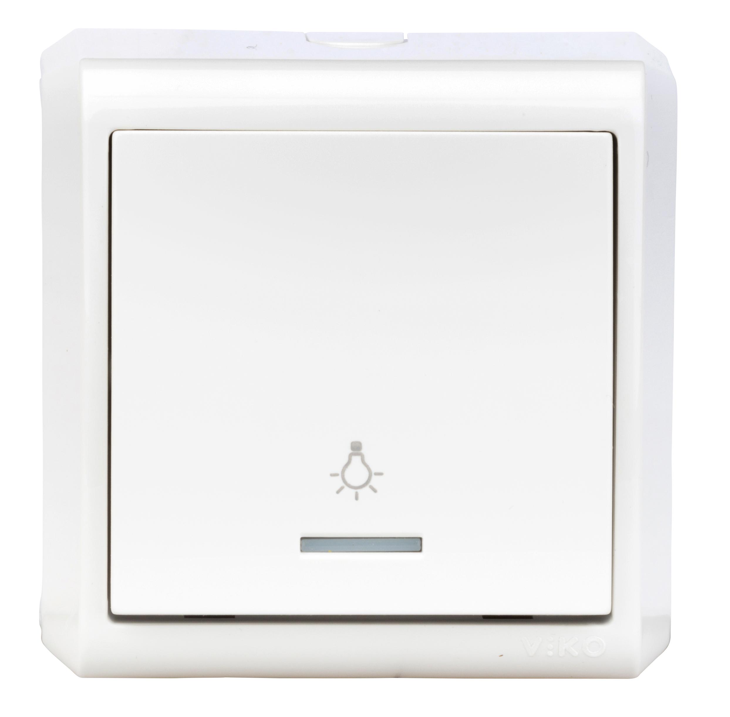 1 Stk AP-Taster, Schliesser, Orientierungslicht, IP20, weiß EV310005--