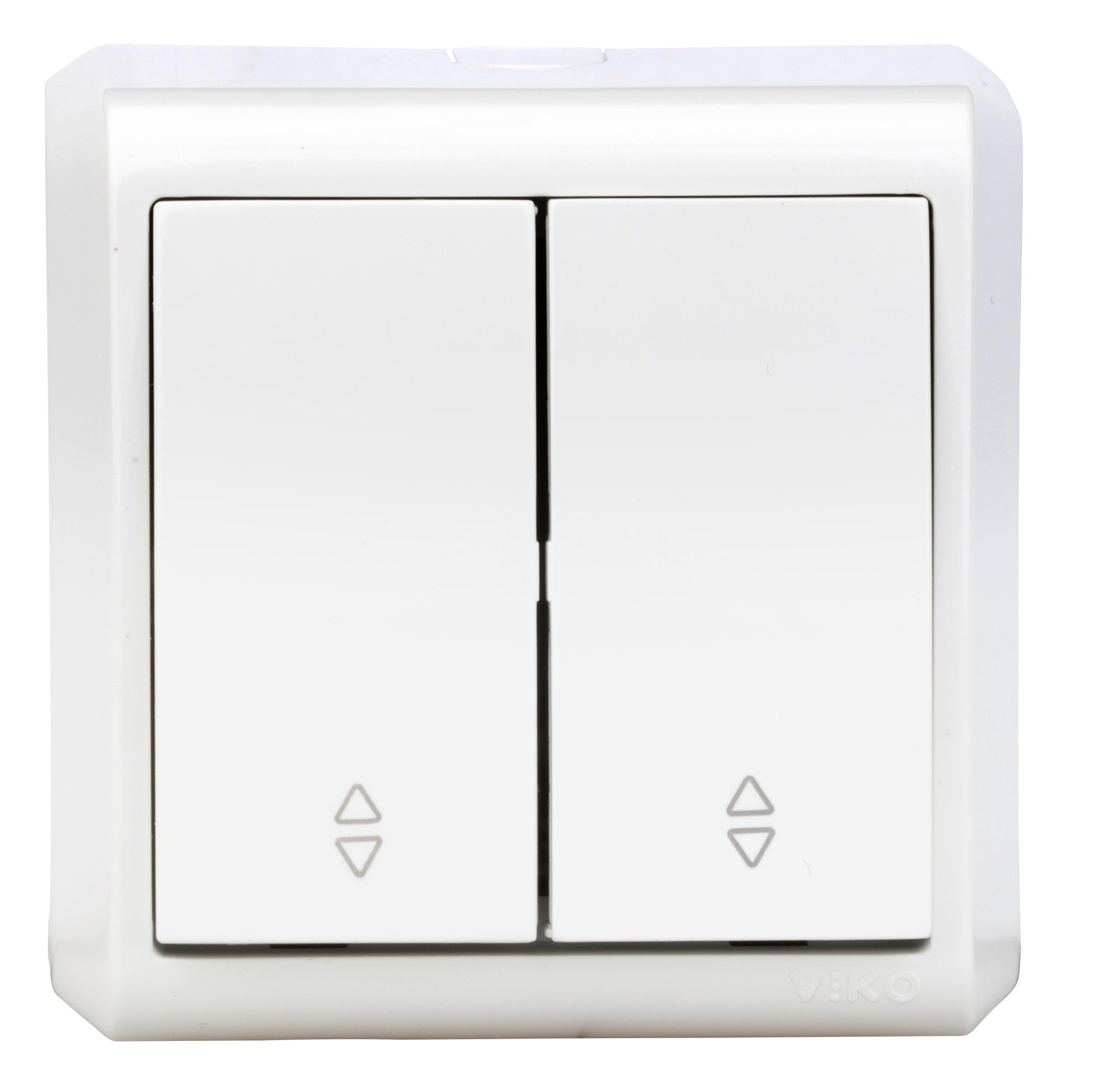1 Stk AP-Doppelwechselschalter, Schraubklemme, IP20, weiß EV310006--