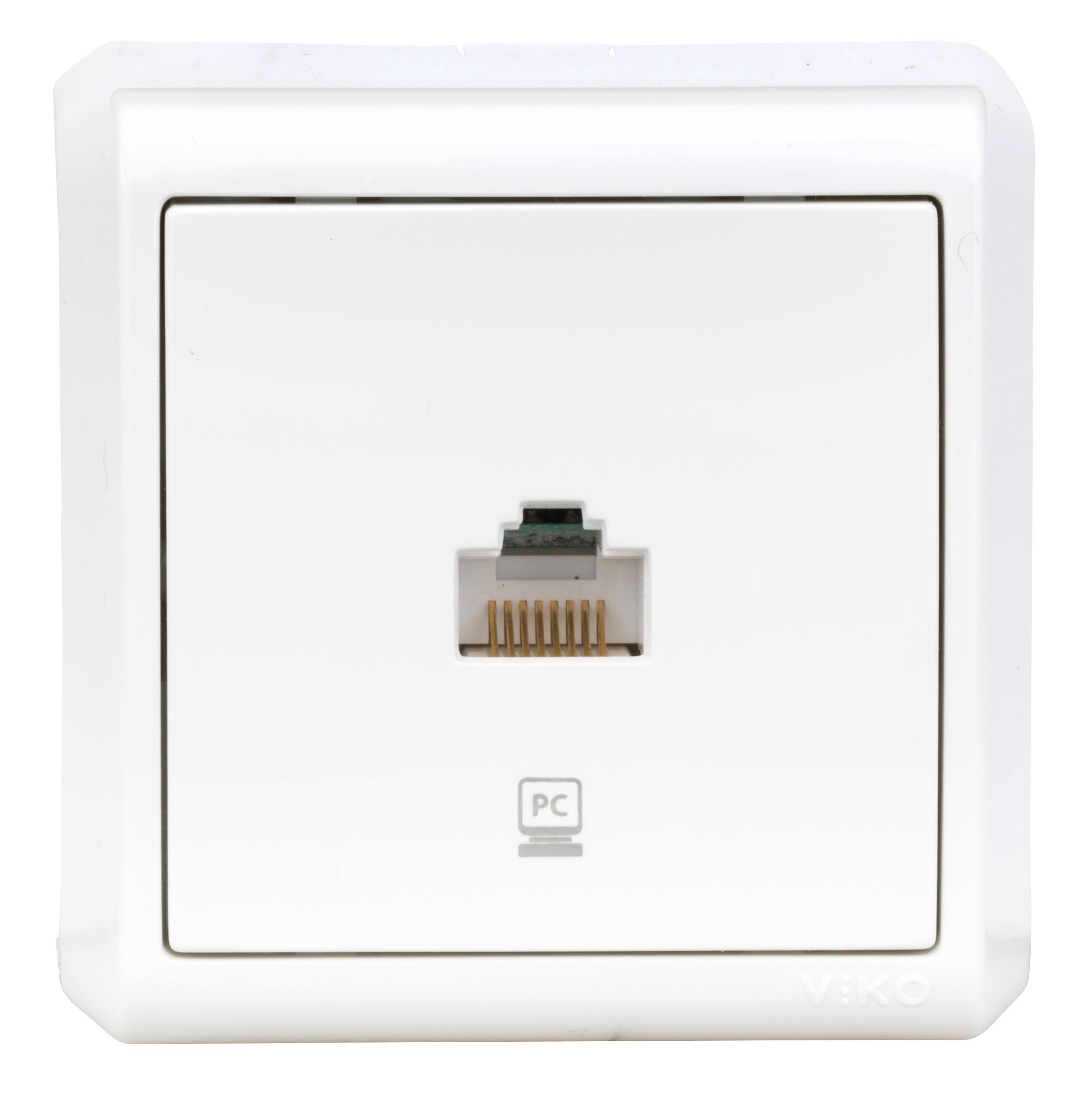 1 Stk AP-1fach Datendose CAT5e, Schraubklemme, IP20, weiß EV314003--