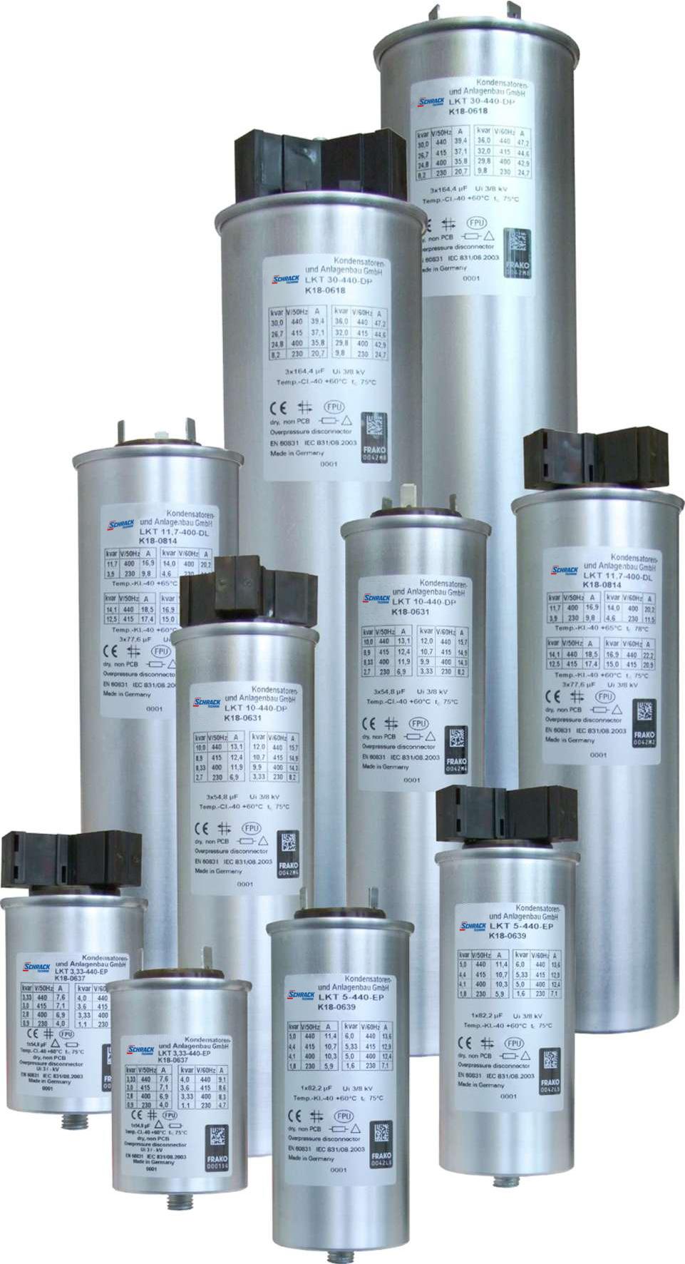 1 Stk Leistungskondensator 525V Qc=14,5kvar(400V)Qc=17,6kvar(440V) FRLK25052B