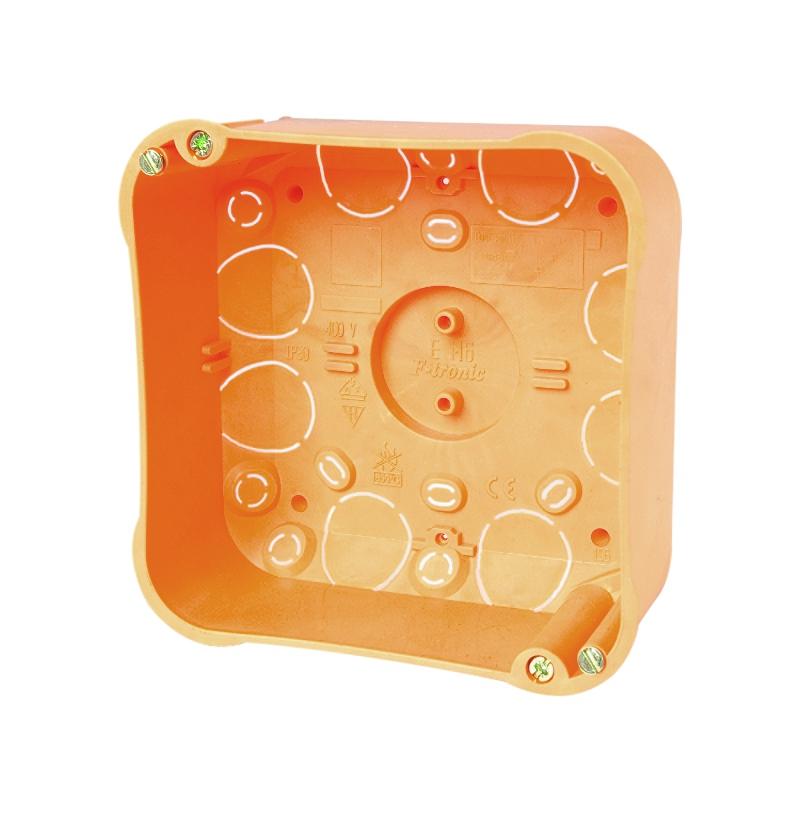 100 Stk Hohlwandabzweigdose 107x107xt50mm, orange, Deckel-weiß, PP GTDH116---