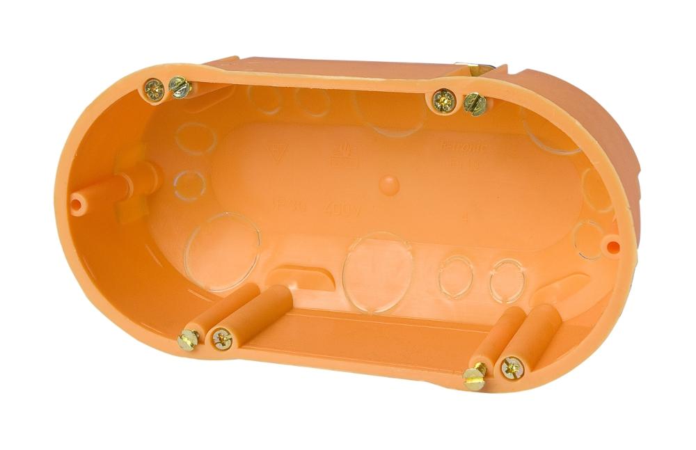 100 Stk Hohlwanddose 2fach, 2xd68xt47mm, orange, PP GTDH118---