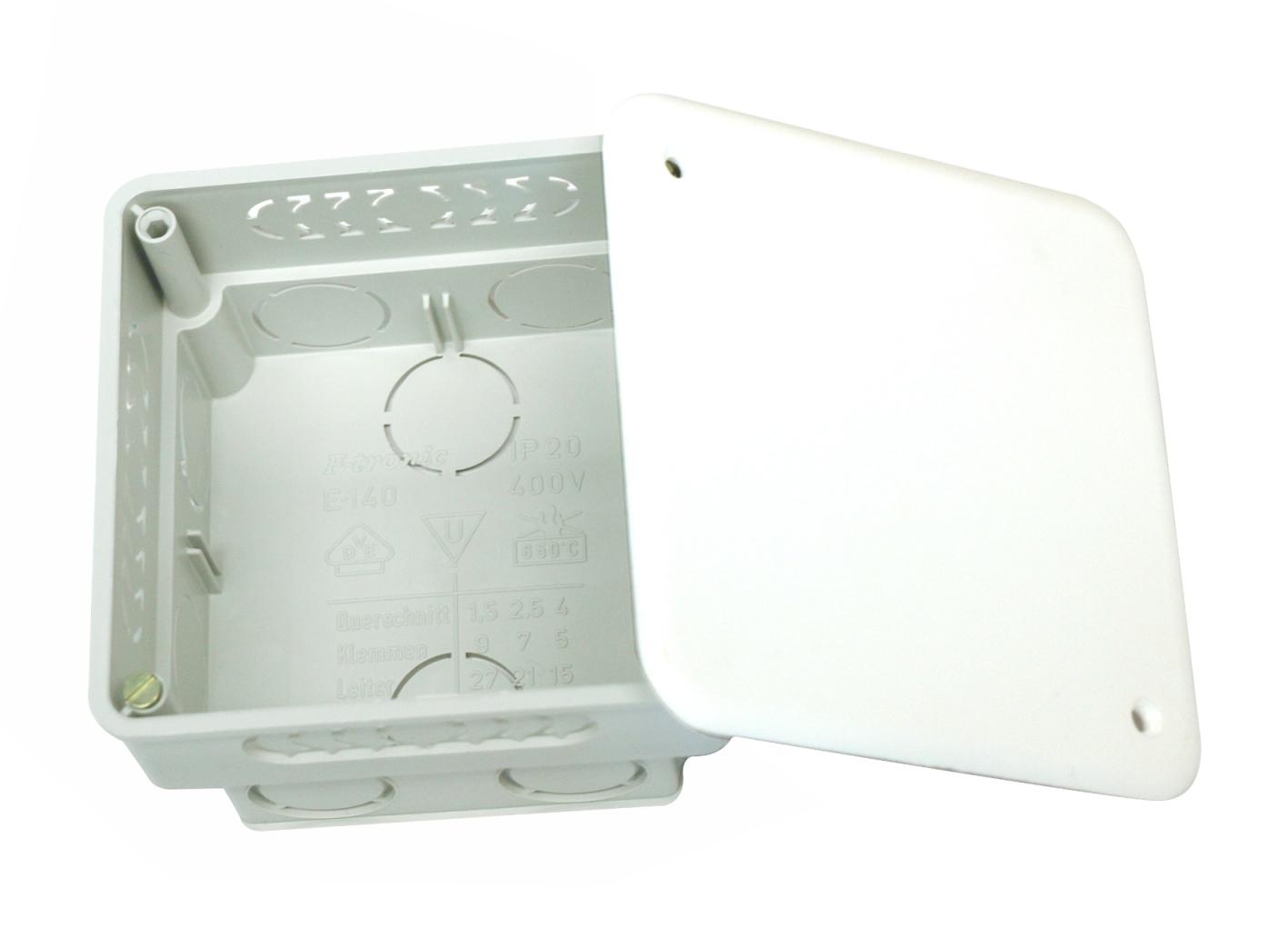 100 Stk UP-Abzweigkasten 87x87xt50mm, ausbrechbar, mit Deckel weiß GTDW140---