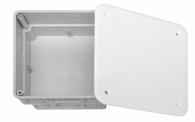 100 Stk UP-Abzweigkasten 108x108xt50mm, ausbrechbar, Deckel weiß GTDW141---