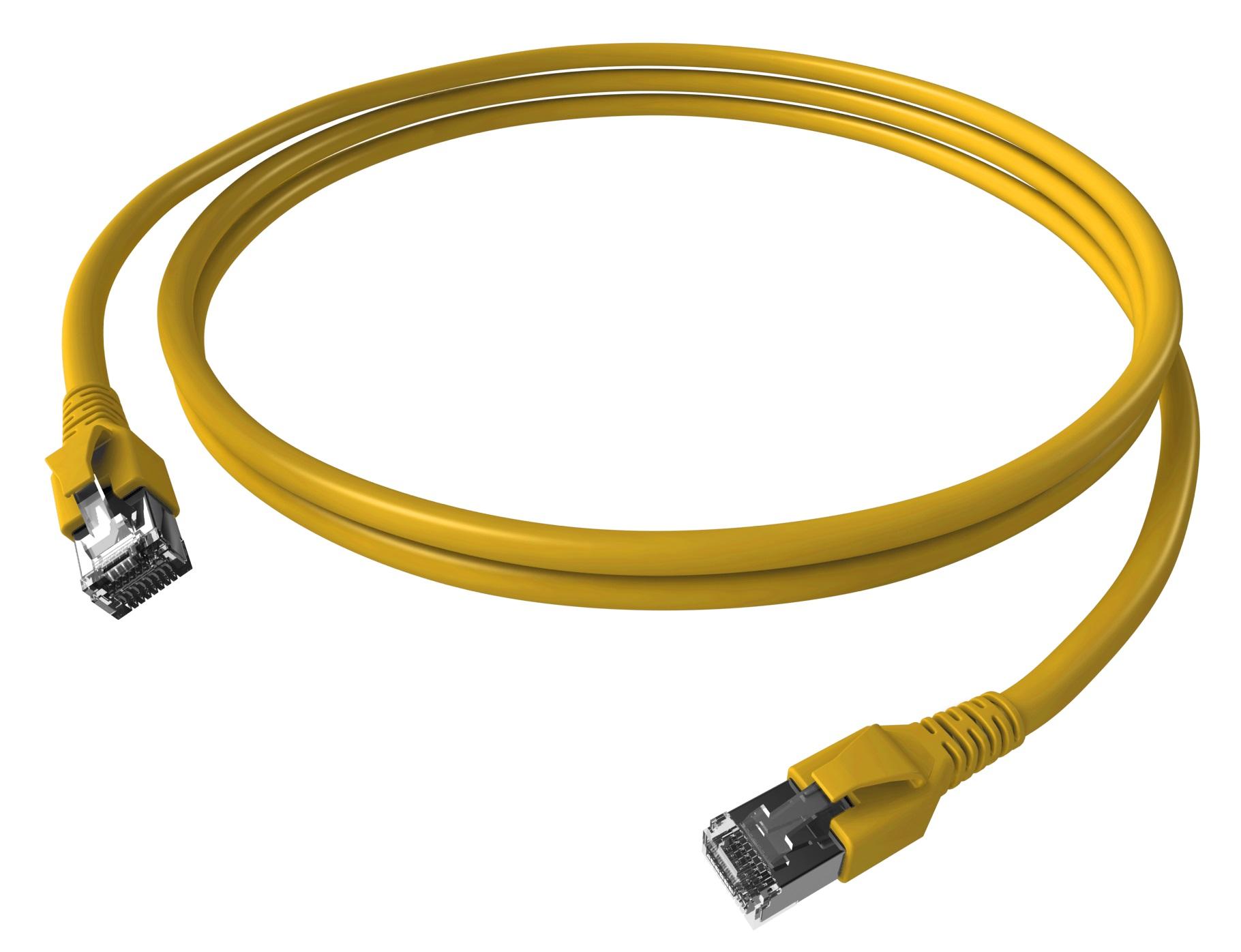 1 Stk Patchkabel RJ45 geschirmt Cat.6a 10GB, LS0H, gelb,  1,0m H6GTY01K0Y