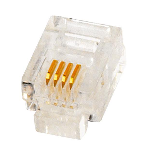 1 Stk RJ11 Stecker zum Crimpen, ungeschirmt 6/4, Telefon HJ11L6P4LC
