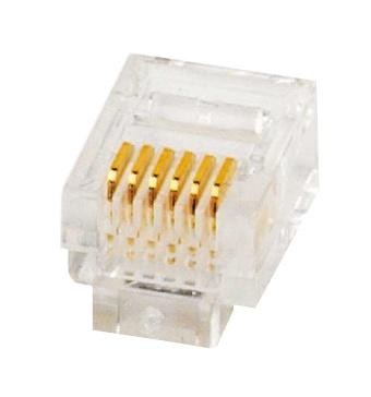 1 Stk RJ12 Stecker zum Crimpen, ungeschirmt 6/6, Telefon HJ1266LC--