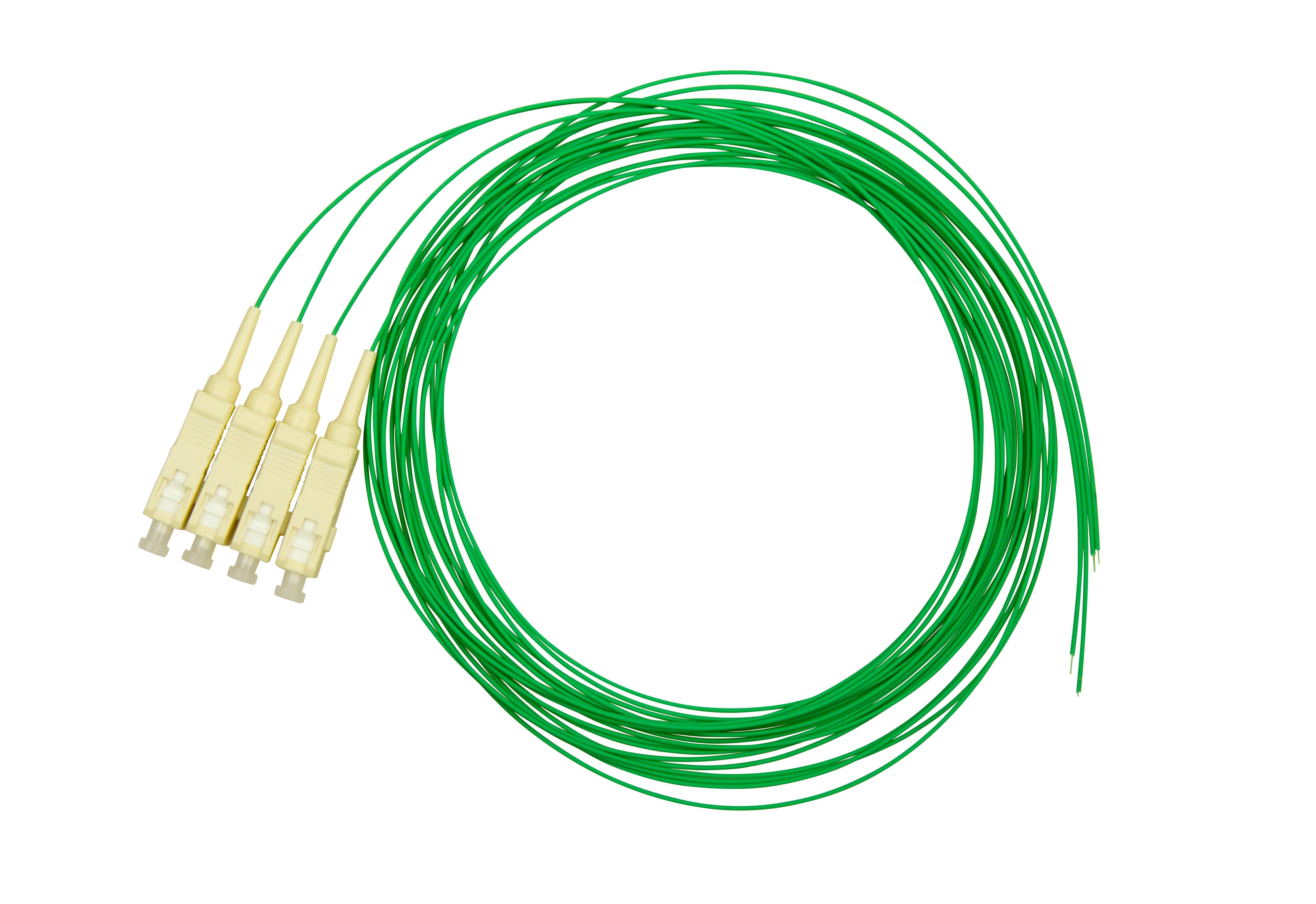 1 VE LWL Pigtail SC, 50/125µm OM2, 2.0m, Easy Strip, grün, 4Stk HLP05C002E