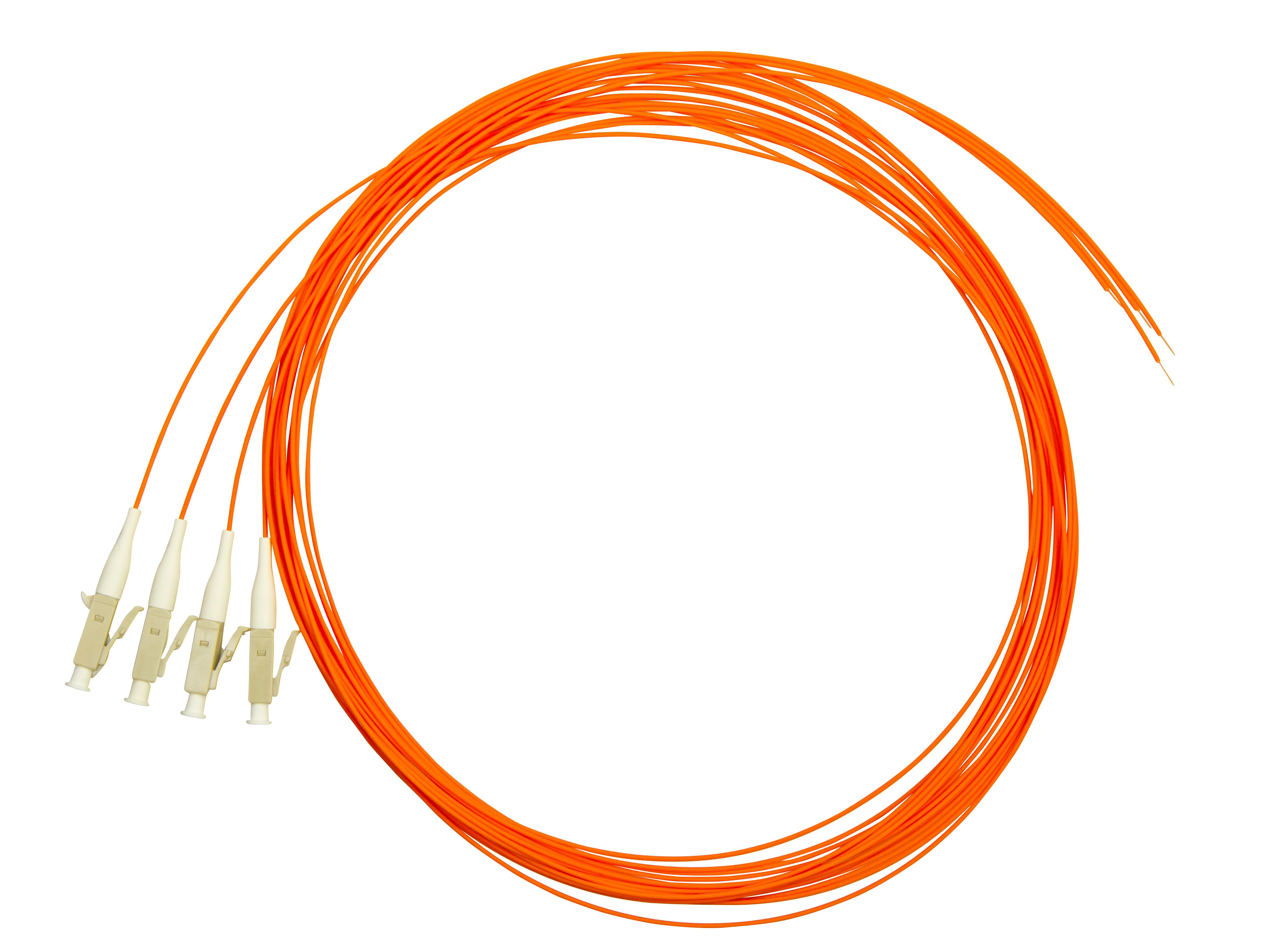 1 VE LWL Pigtail LC, 62,5/125µm OM1, 2.0m, Easy Strip,orange,4Stk HLP06L002E