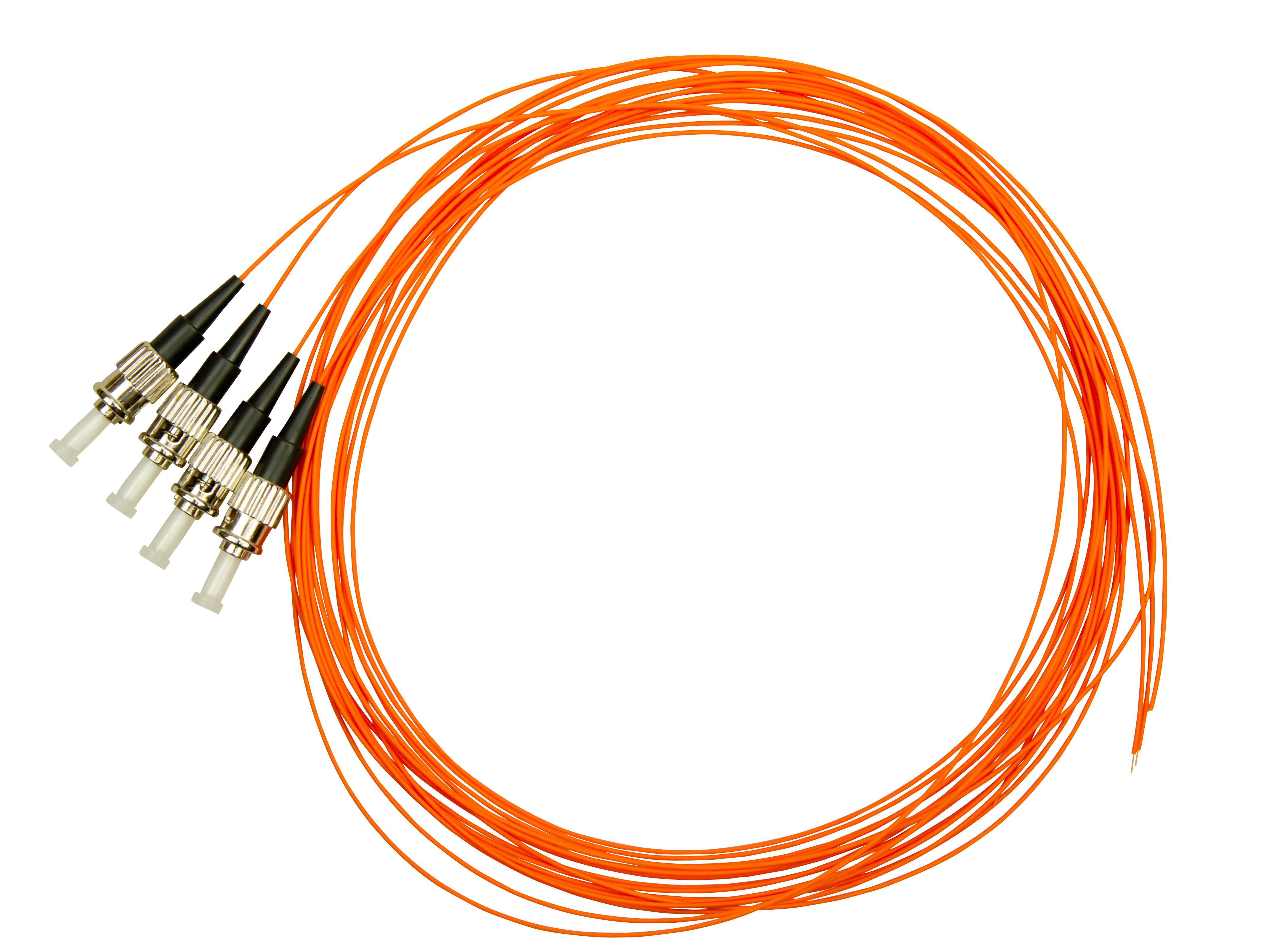 1 VE LWL Pigtail ST, 62,5/125µm OM1, 2.0m, Easy Strip,orange,4Stk HLP06T002E