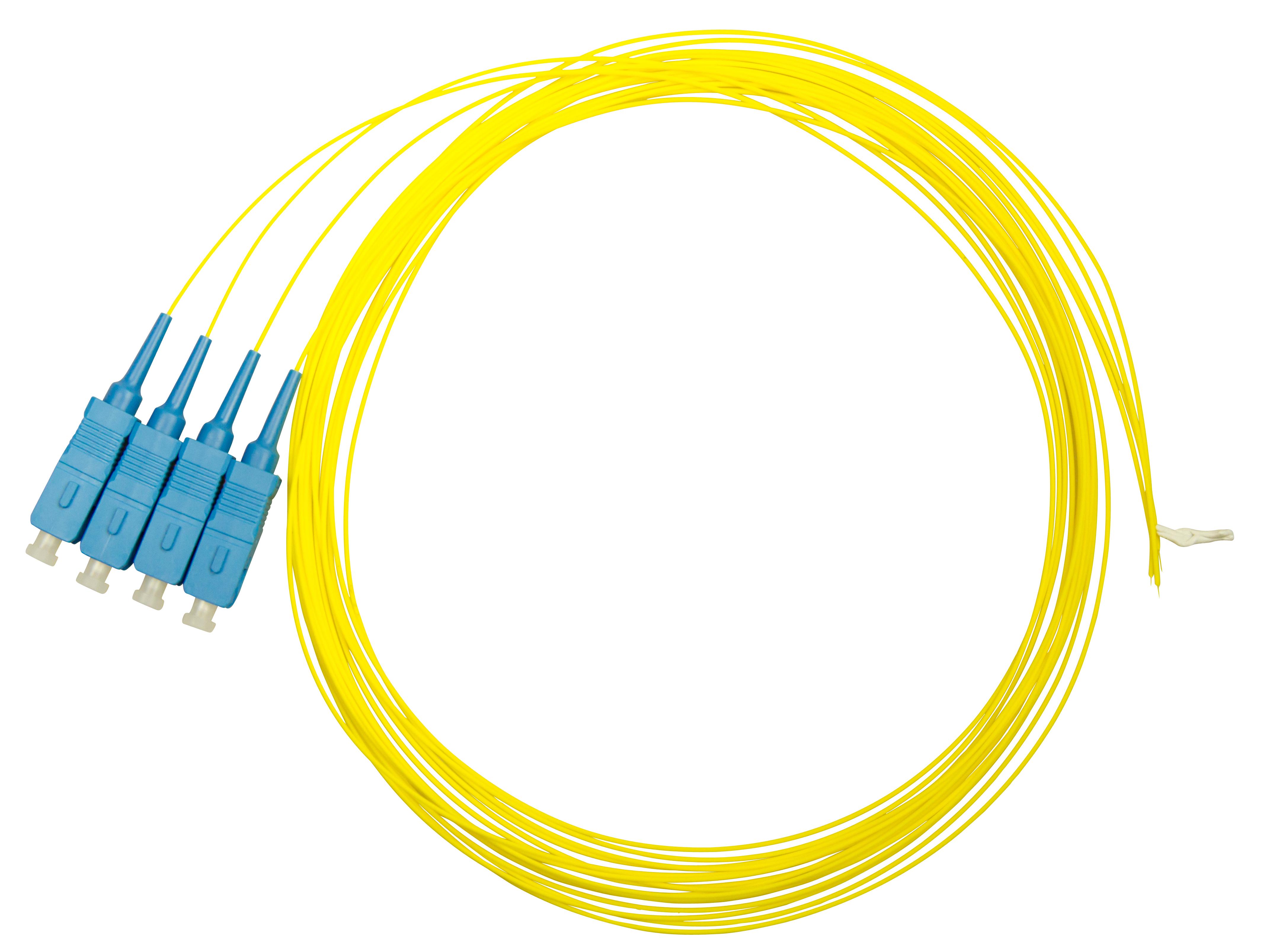 1 VE LWL Pigtail SC, 9/125µm OS2, 2.0m, Easy Strip, gelb, 4Stk HLP09C002E