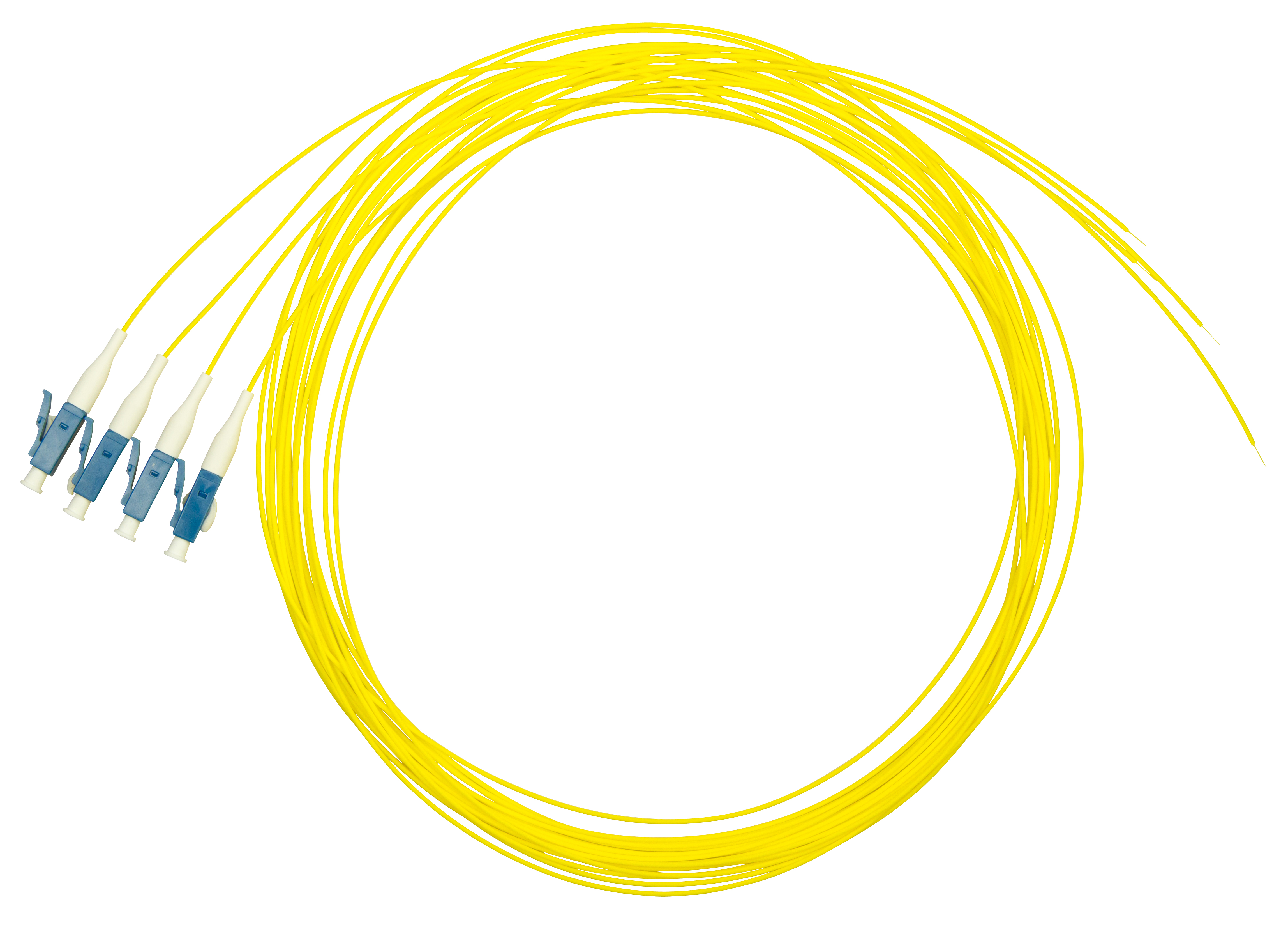 1 VE LWL Pigtail LC, 9/125µm OS2, 2.0m, Easy Strip, gelb, 4Stk HLP09L002E