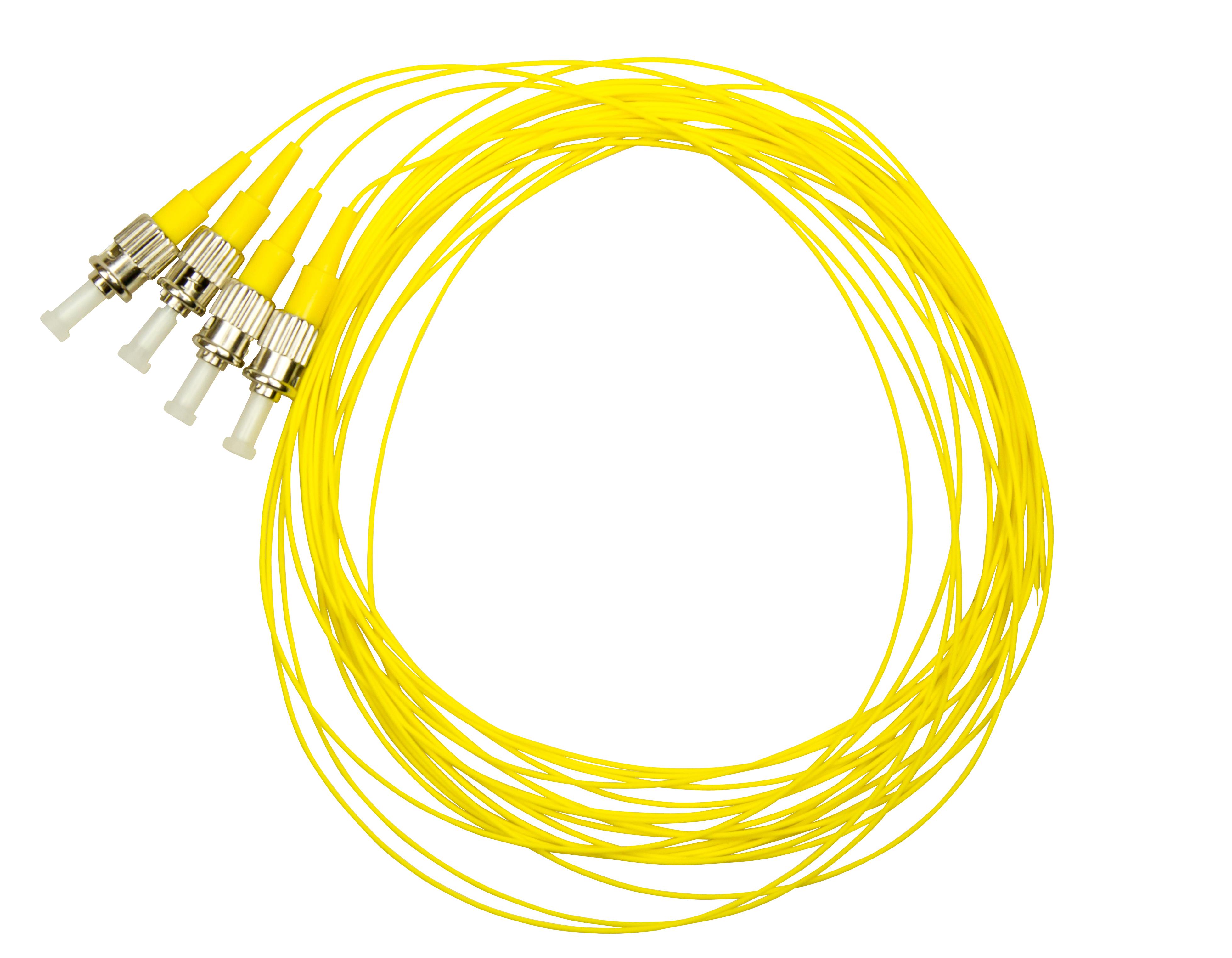 1 VE LWL Pigtail ST, 9/125µm OS2, 2.0m, Easy Strip, gelb, 4Stk HLP09T002E
