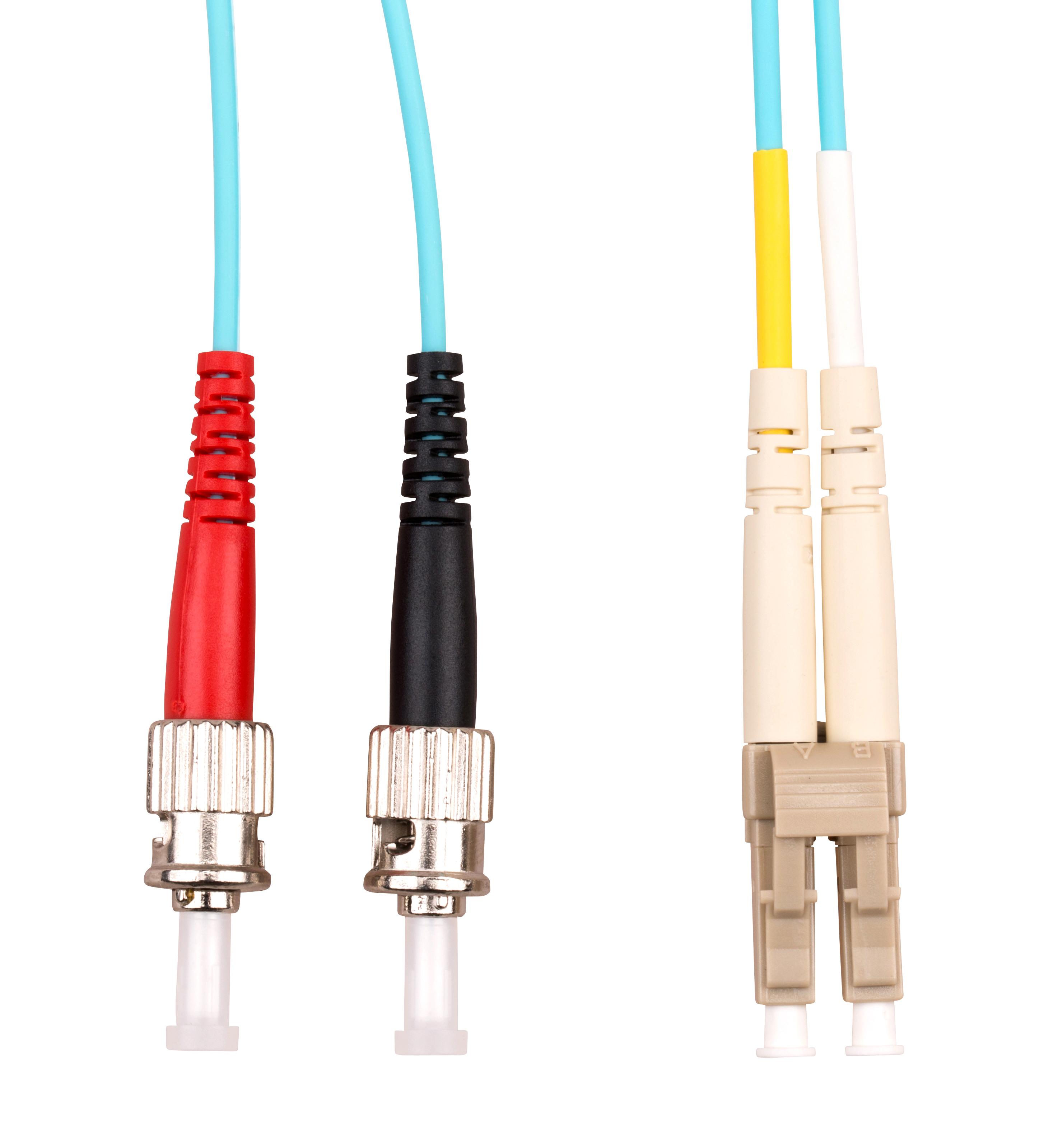 1 Stk LWL Patchkabel Duplex LC/ST,50/125µm OM3,LS0H-3,aqua,10.0m HLP23LT10F