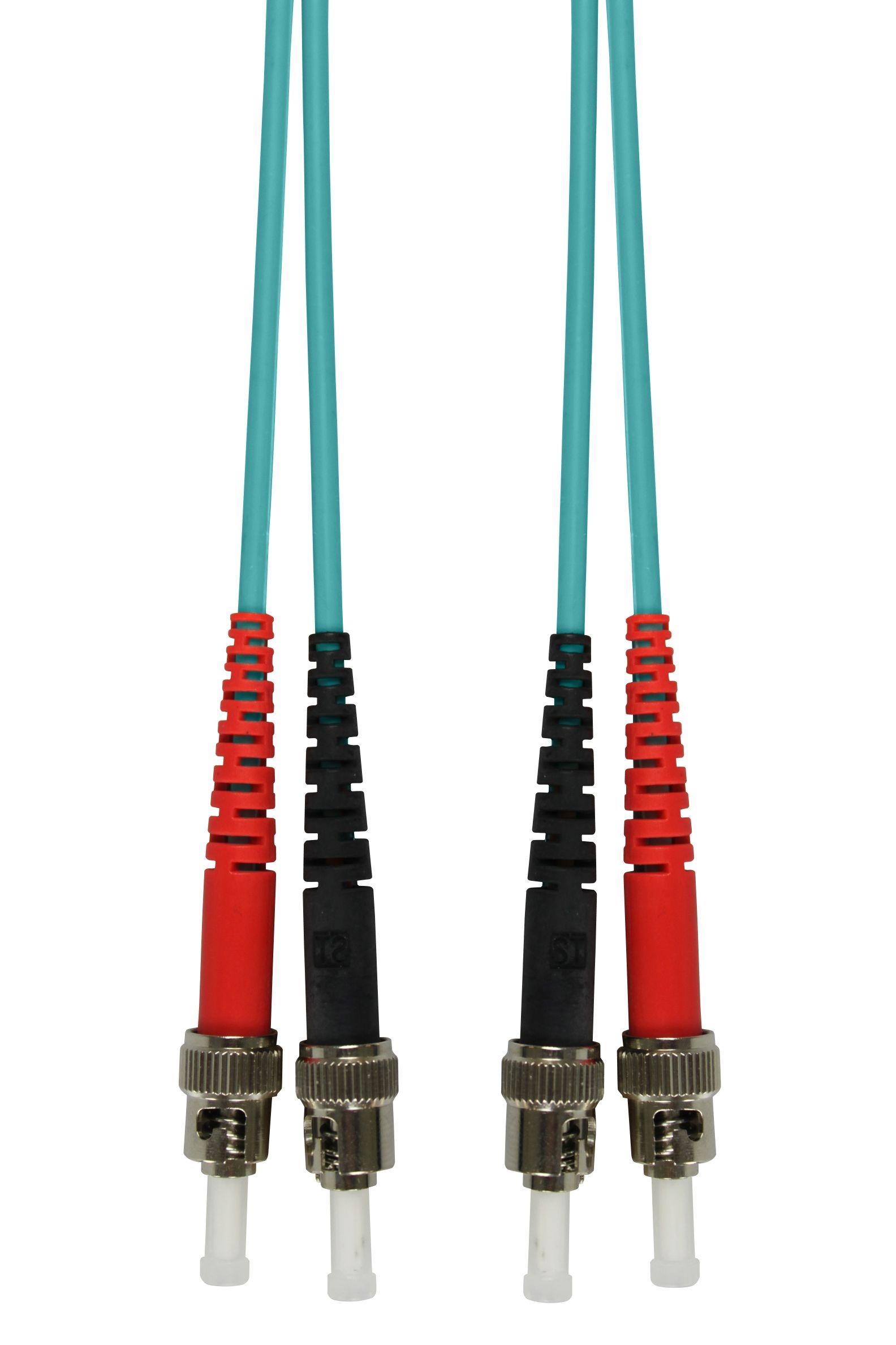 1 Stk LWL Patchkabel Duplex ST/ST,50/125µm OM3,LS0H-3,aqua,10.0m HLP23TT10F