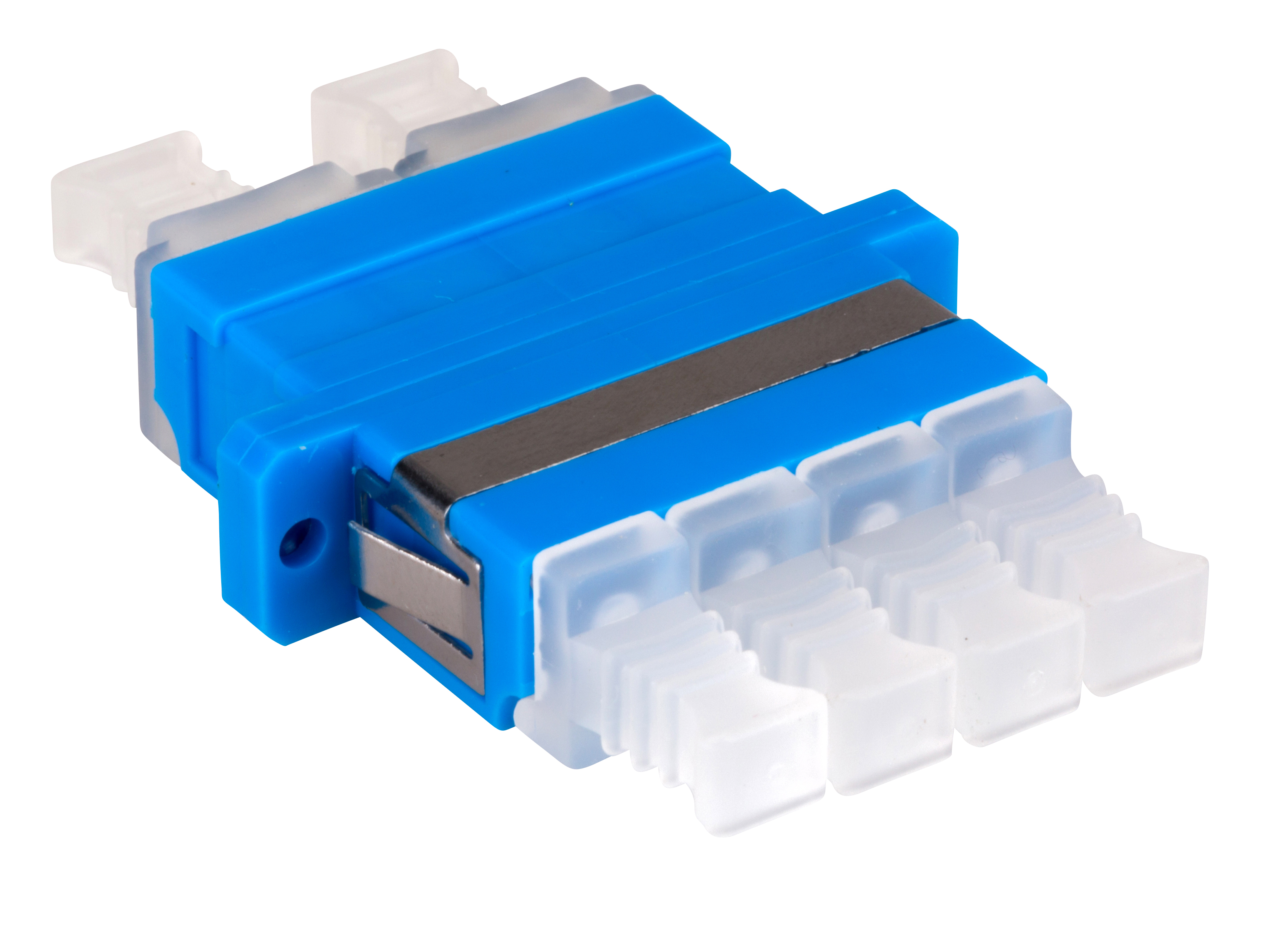 1 Stk LWL Kupplung LC-Quad, Singlemode zirconia, Flansch, blau HMOL000106