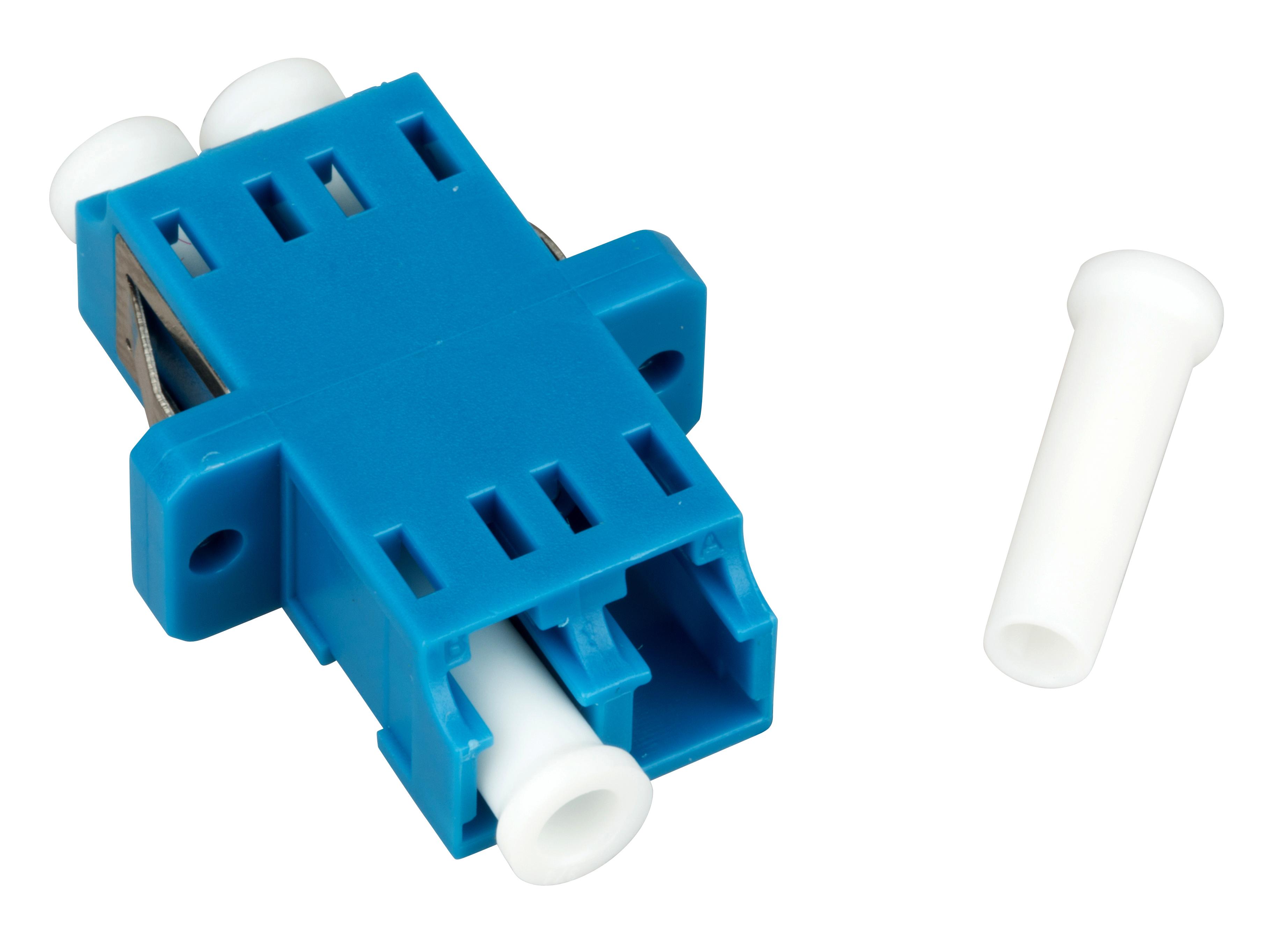 1 Stk LWL Kupplung LC-Duplex, Singlemode, zirc, Flansch, blau, ECO HMOLE00056