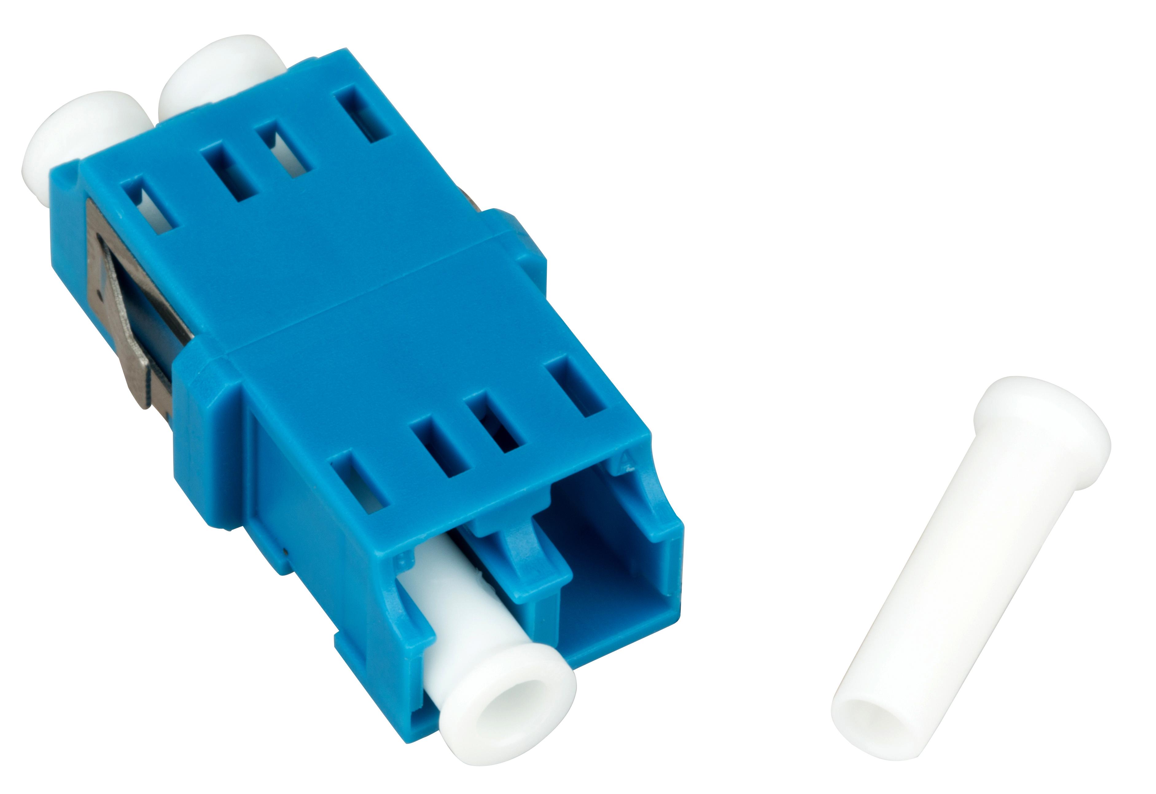 1 Stk LWL Kupplung LC-Duplex, Singlemode. zirc, ohne Flansch, blau HMOLE00104