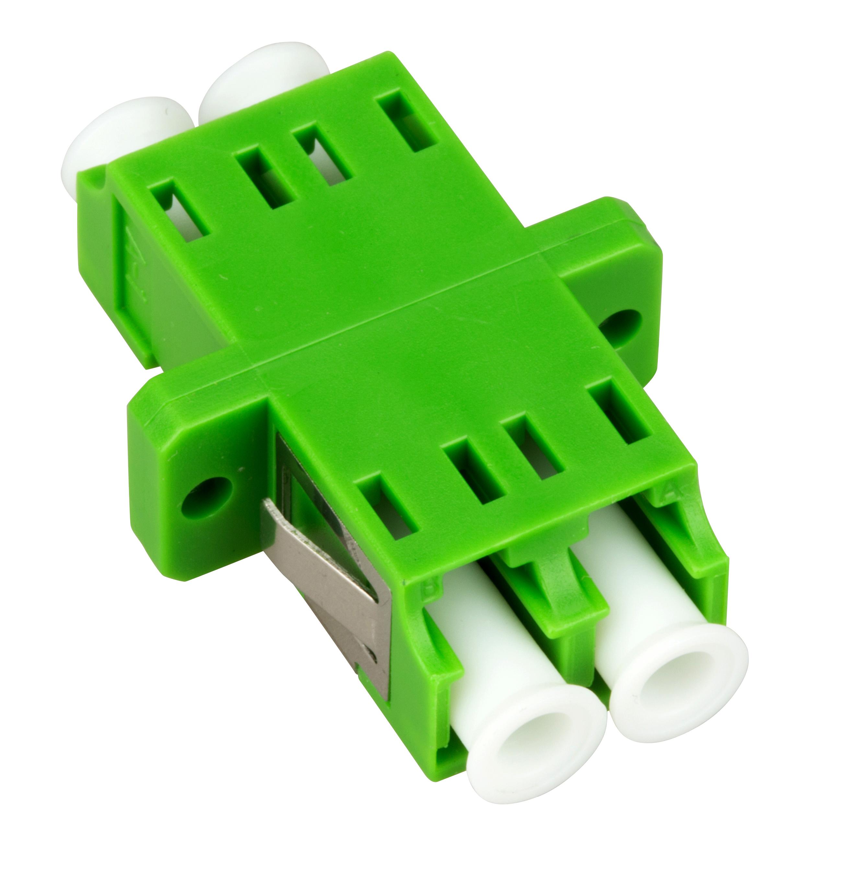 1 Stk LWL Kupplung LC/APC-Duplex, Singlemode,zirc,Flansch,grün,ECO HMOLE00108