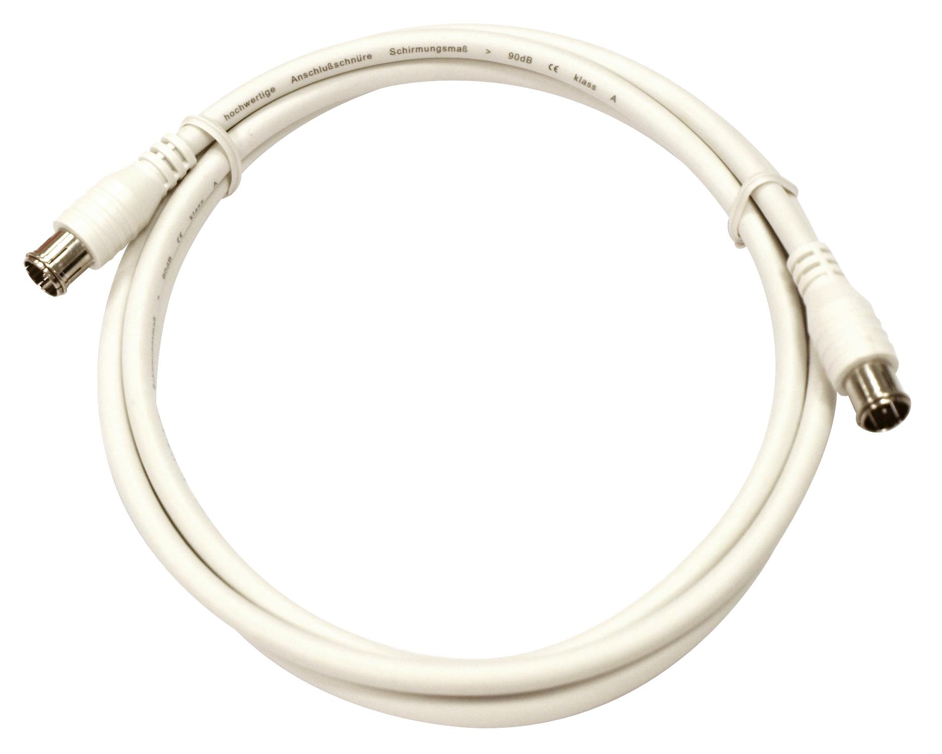 1 Stk Koax Patchkabel, 2xF-Quick gerade, >90dB, ClassA, weiß, 2,5m HS4HC02K5-