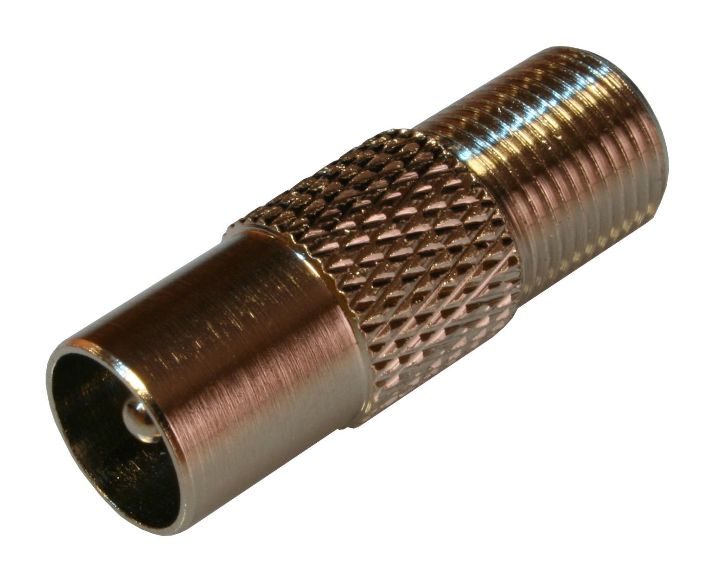 1 VE Koax Adapter F-Buchse auf IEC-Stecker, 10 Stück HS4HFBIS--