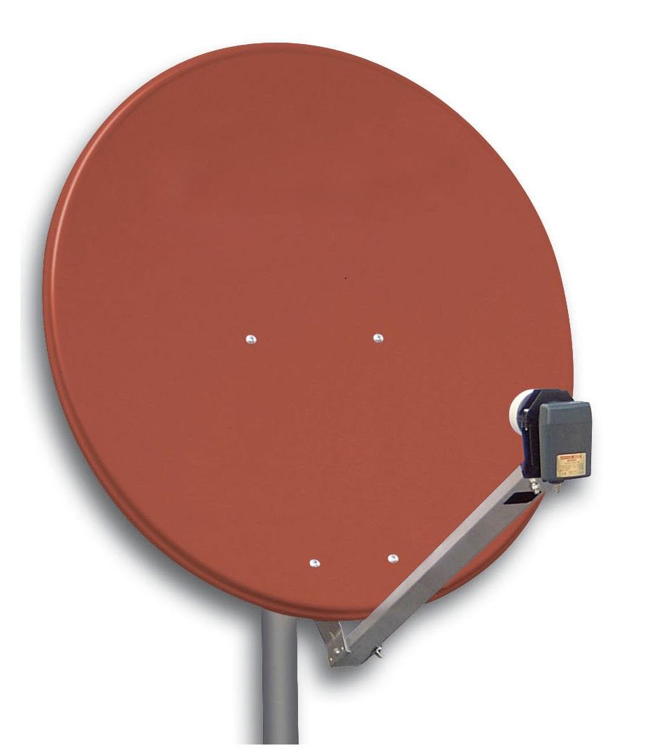1 Stk SAT Antenne  80/75cm, Alu,39dB Gain,Arm klappbar, Rot HSATA080AR