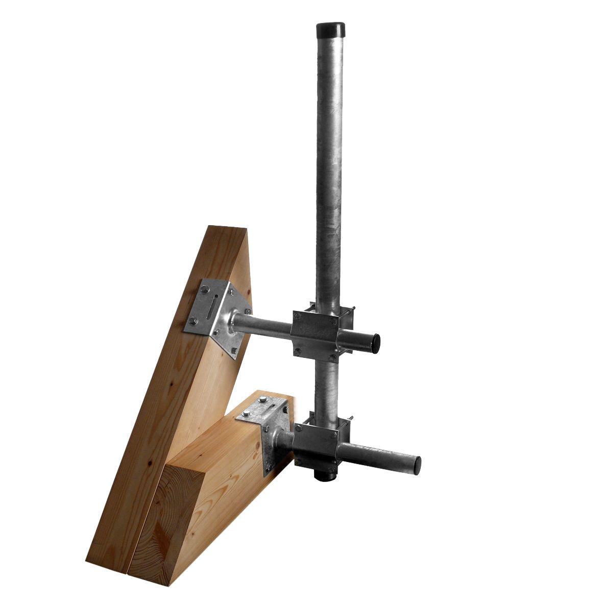 1 Stk SAT Dachsparrenmontageset f. Masten bis 60mm,Vertikal, Stahl HSATMS01S-