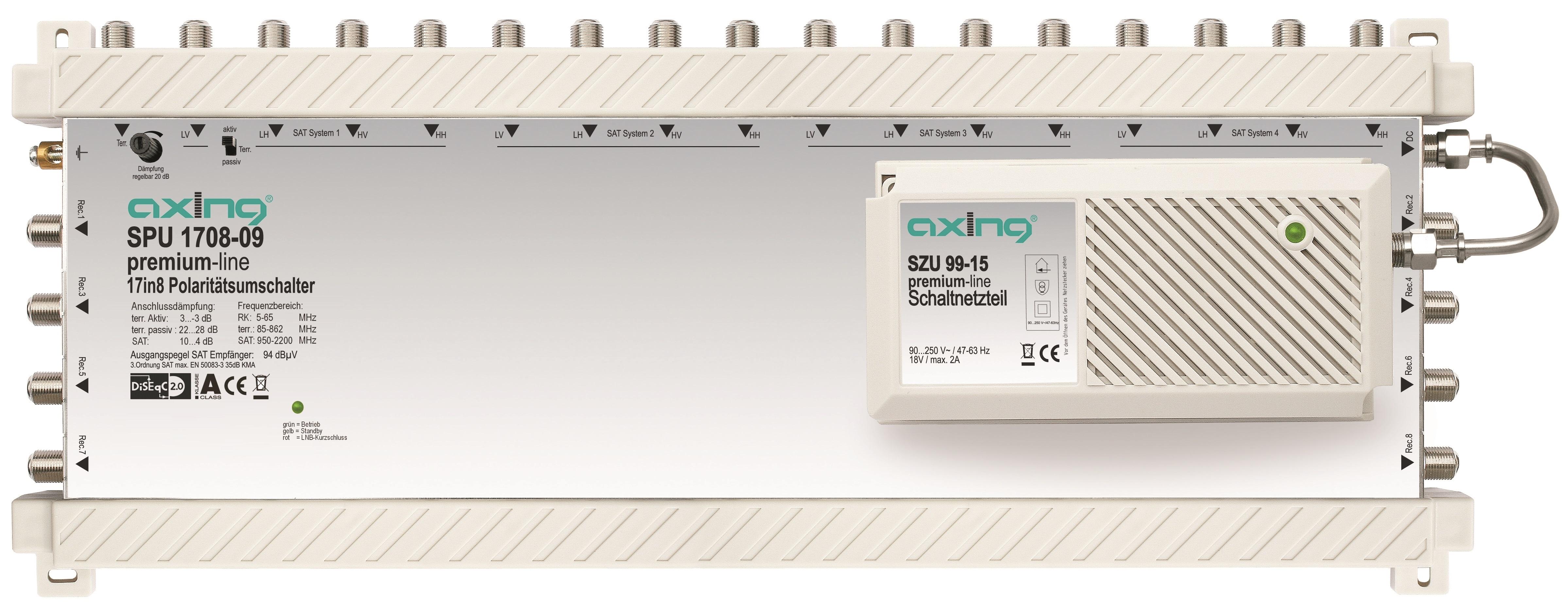 1 Stk SAT Multischalter 17 in  8 für Quattro+Quad LNB,SPU 1708-09 HSATS1708A