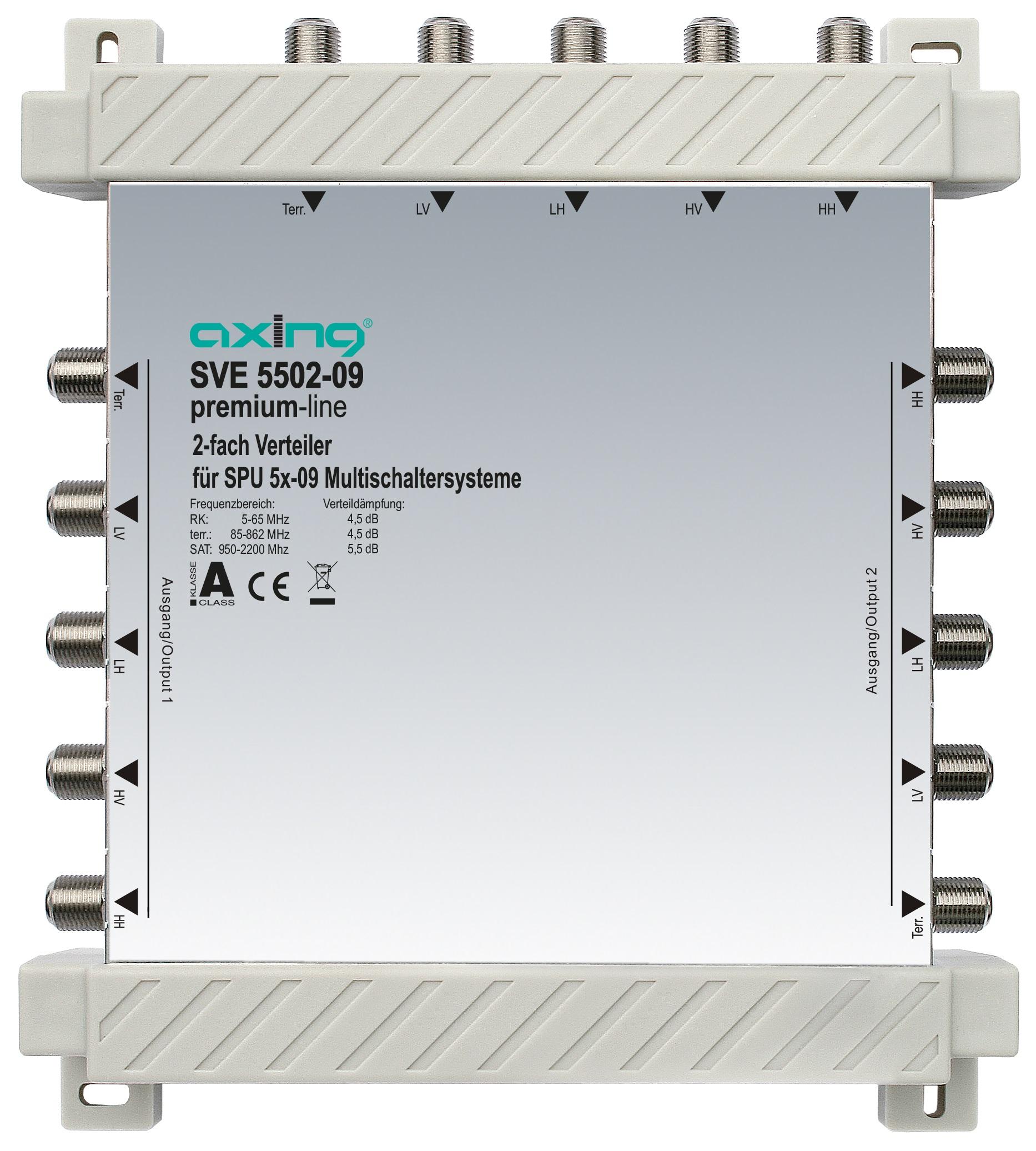 1 Stk 2-fach Verteiler, 5 in 5, 5 bis 2200 MHz, SVE5502-09 HSATSV209A